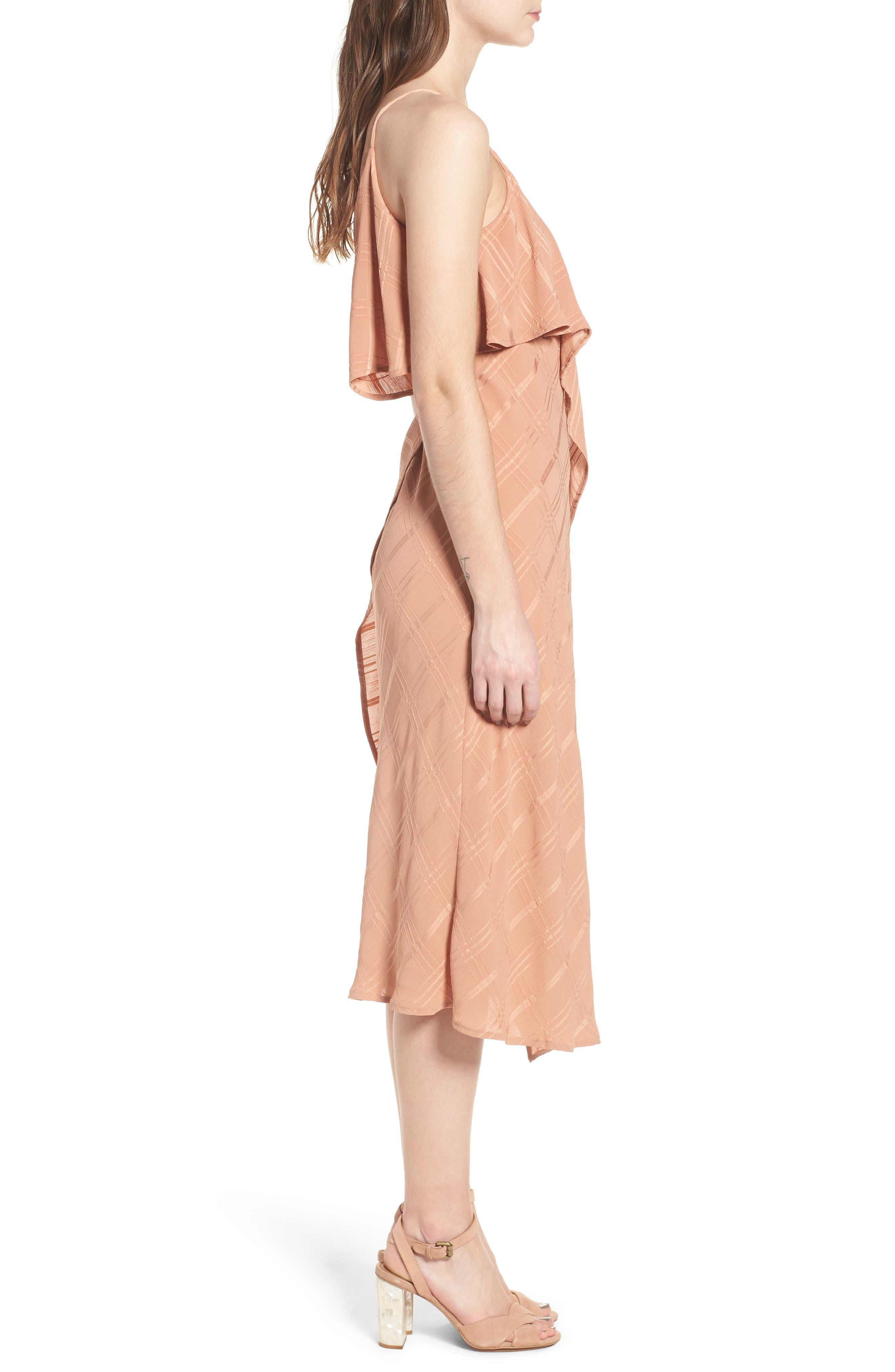 Yoanna Ruffle Trim Wrap Dress,                             Alternate thumbnail 4, color,                             Terracotta