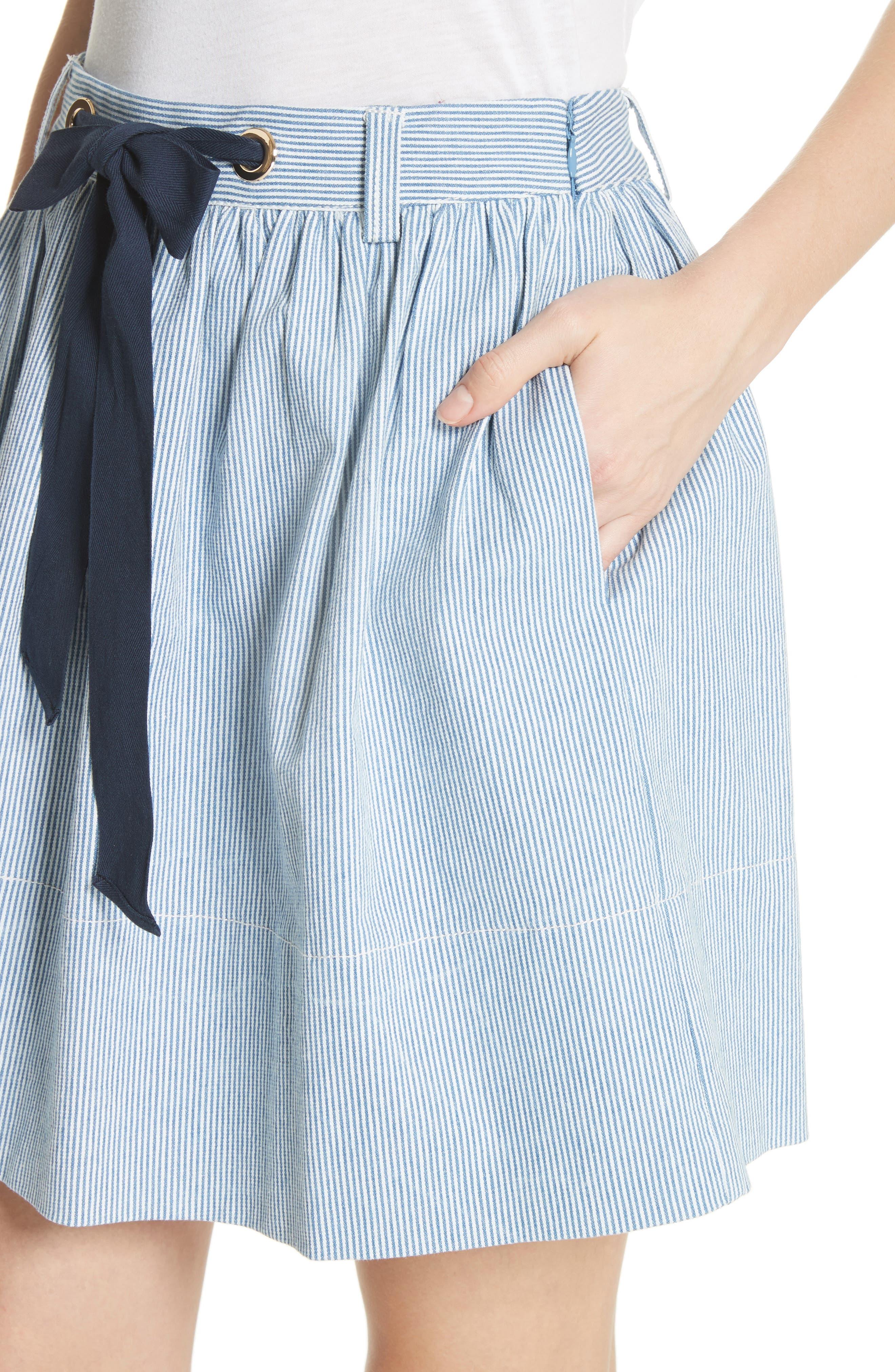 railroad stripe denim skirt,                             Alternate thumbnail 4, color,                             Indigo/ Cream
