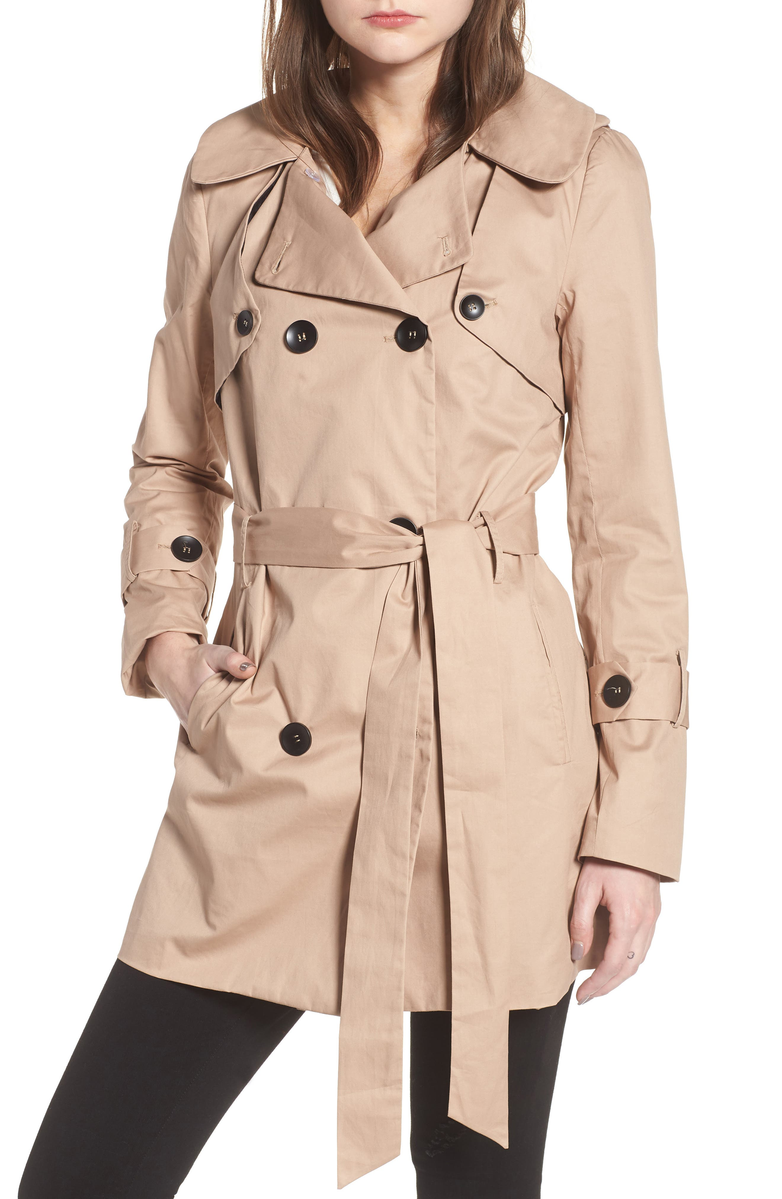 Moss Trench Coat,                             Alternate thumbnail 4, color,                             Sand