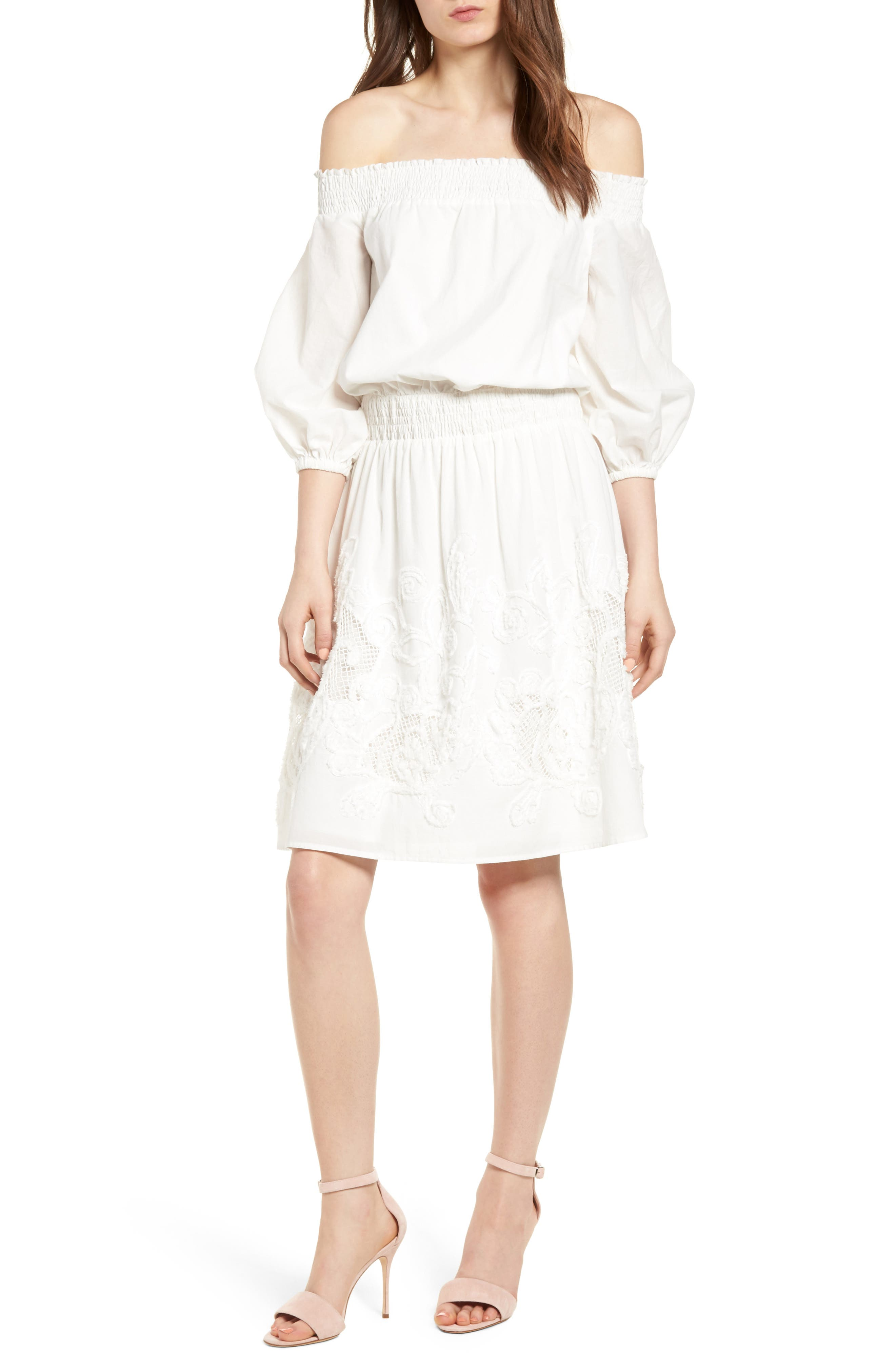 Embroidered Off the Shoulder Blouson Dress,                             Main thumbnail 1, color,                             White Snow