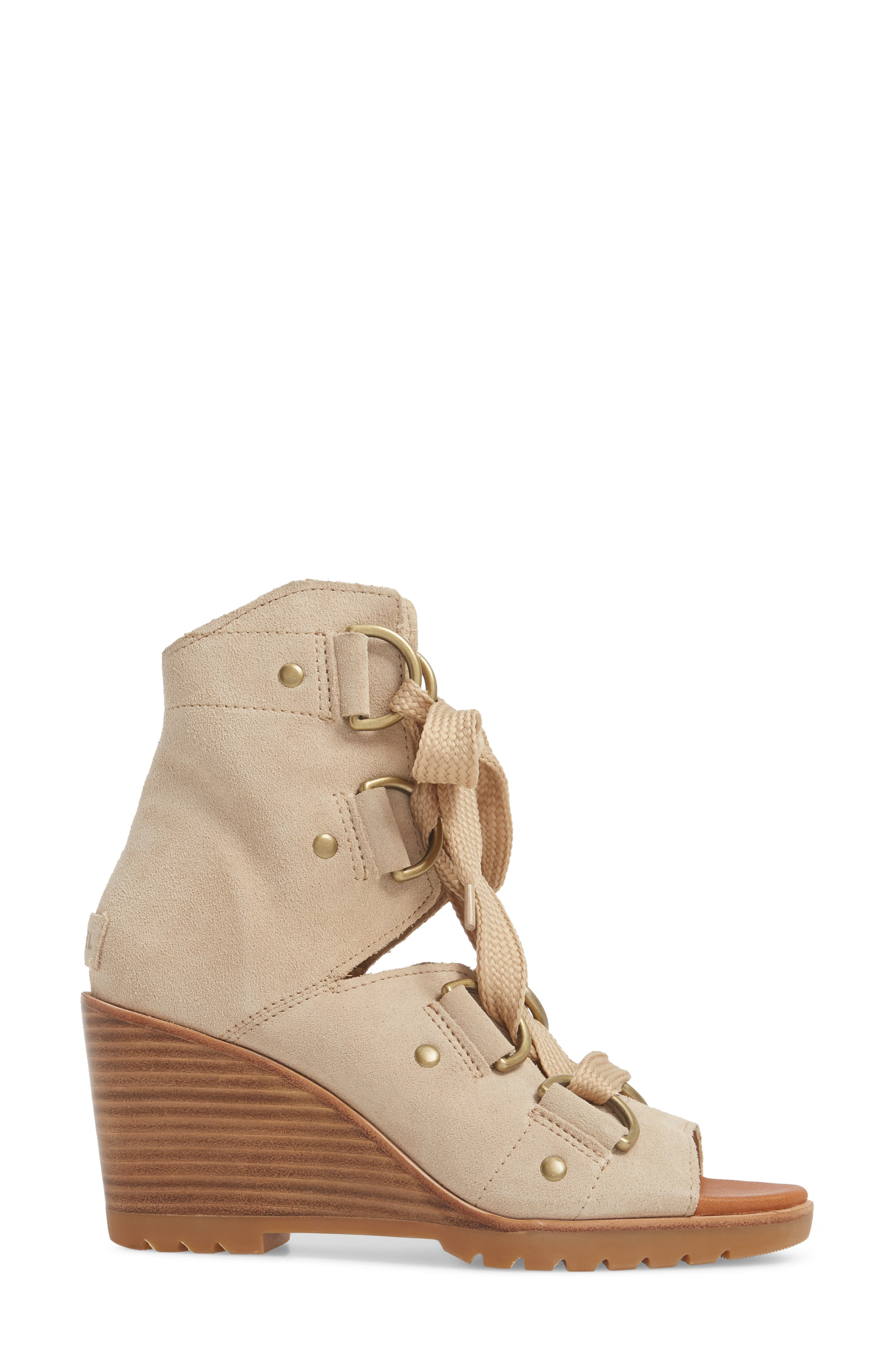 After Hours Wedge Bootie,                             Alternate thumbnail 3, color,                             Oatmeal