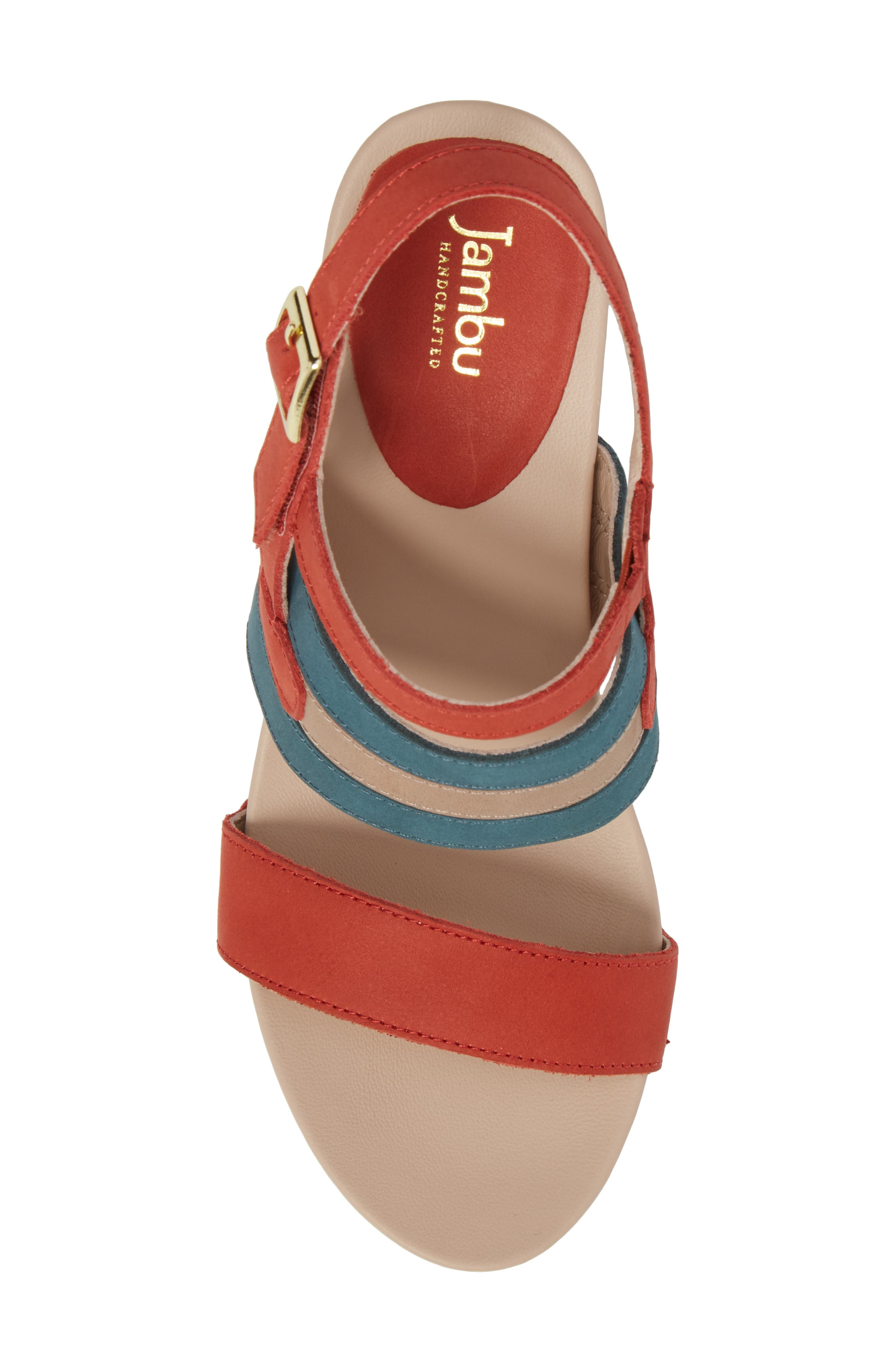 Viola Platform Sandal,                             Alternate thumbnail 5, color,                             Coral/ Teal Nubuck