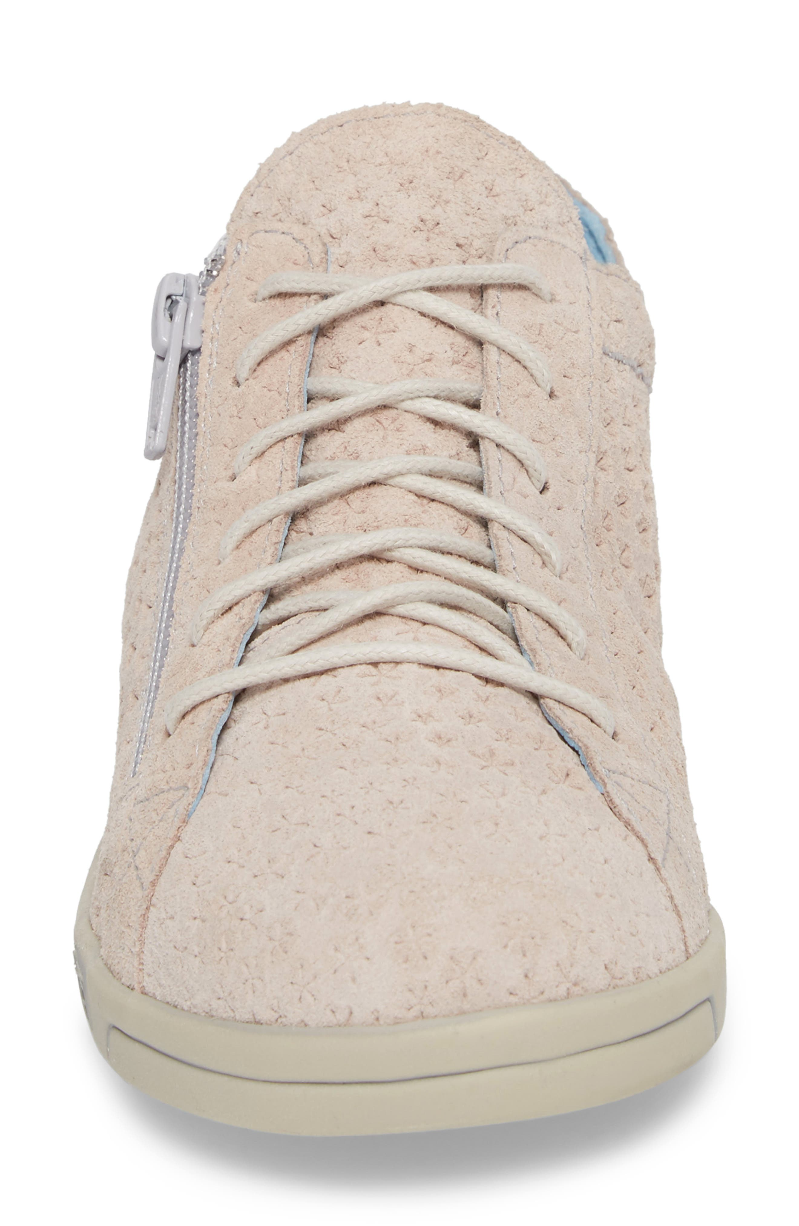 Aika Star Perforated Sneaker,                             Alternate thumbnail 4, color,                             Light Pink Leather