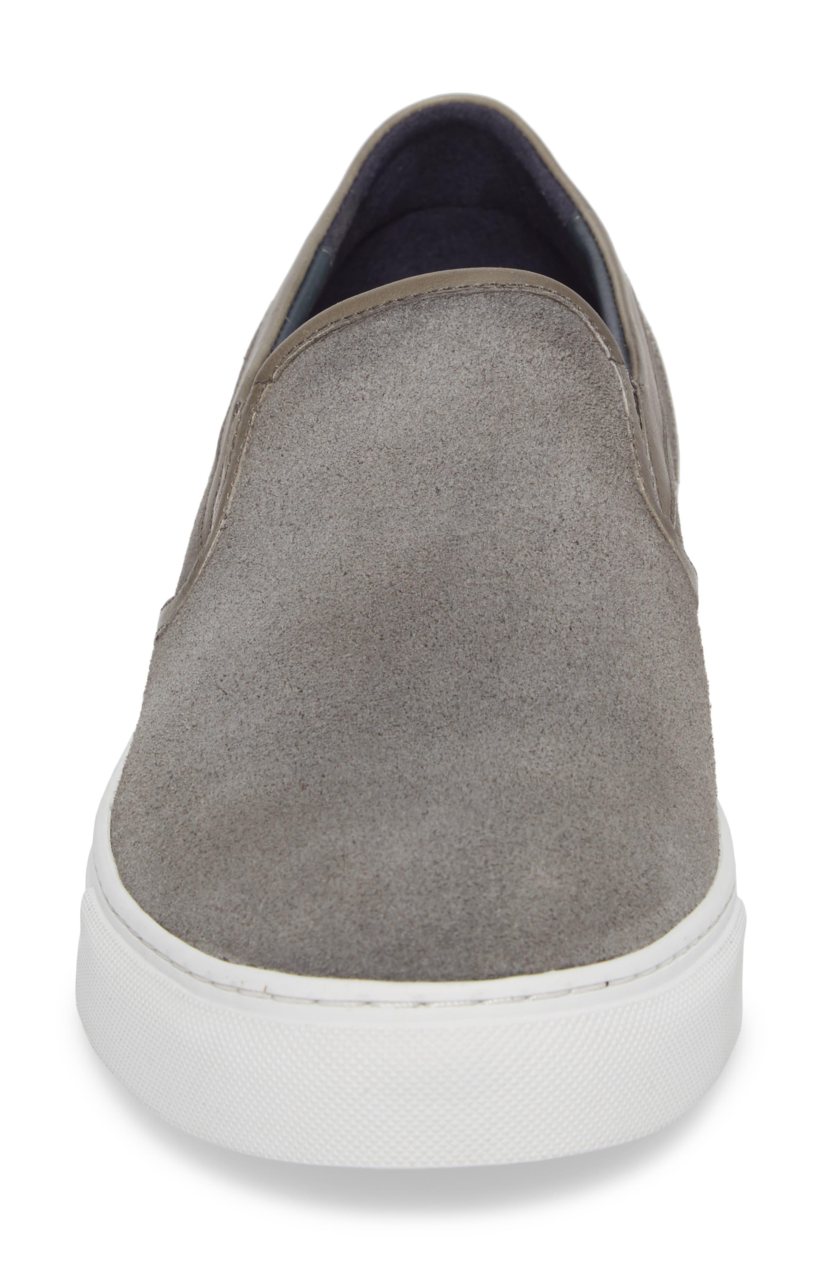 Vane Slip-On Sneaker,                             Alternate thumbnail 4, color,                             Grey Suede/ Leather