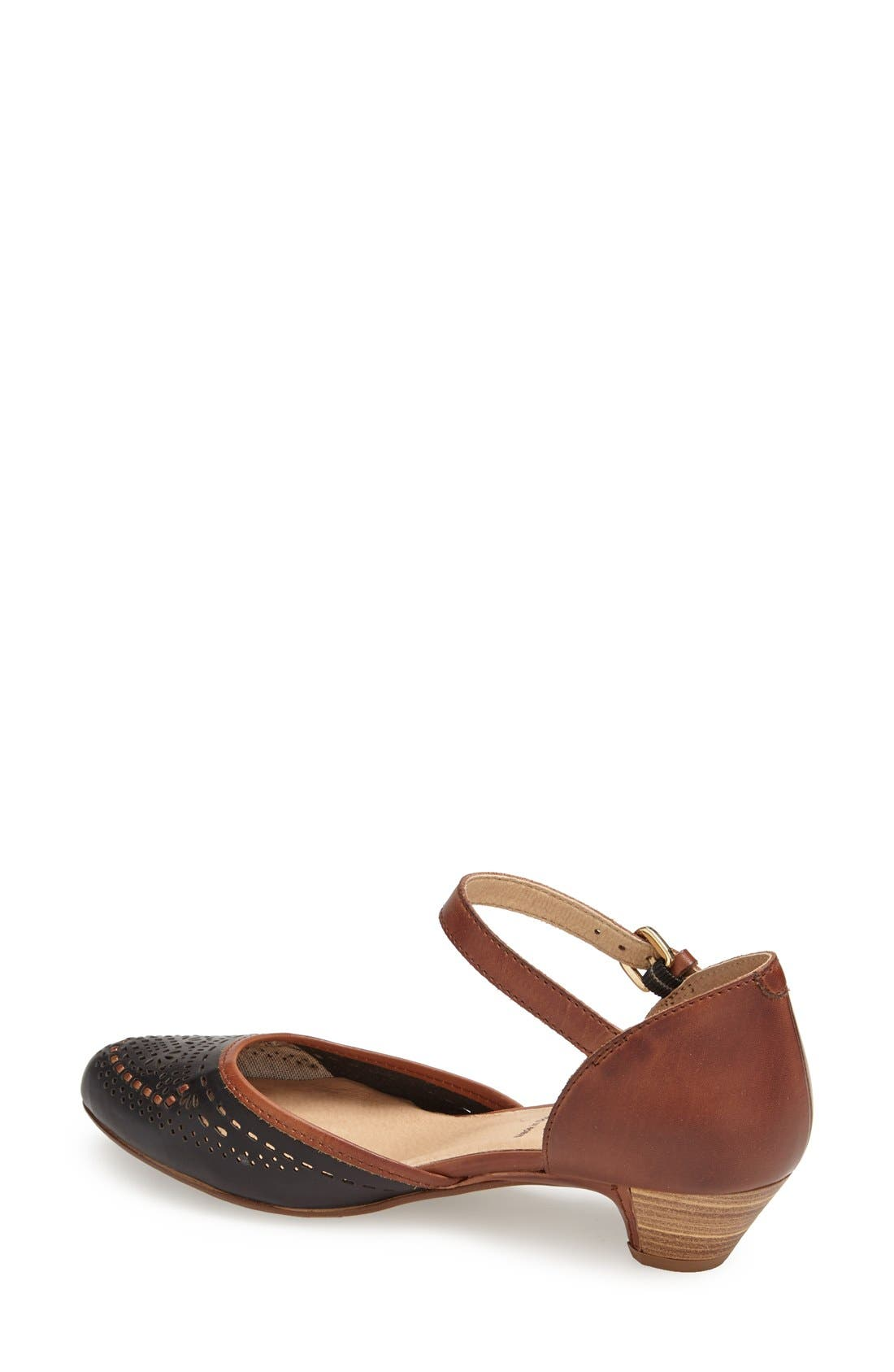 'Elba' Perforated Leather Ankle Strap Sandal,                             Alternate thumbnail 2, color,                             Black Leather