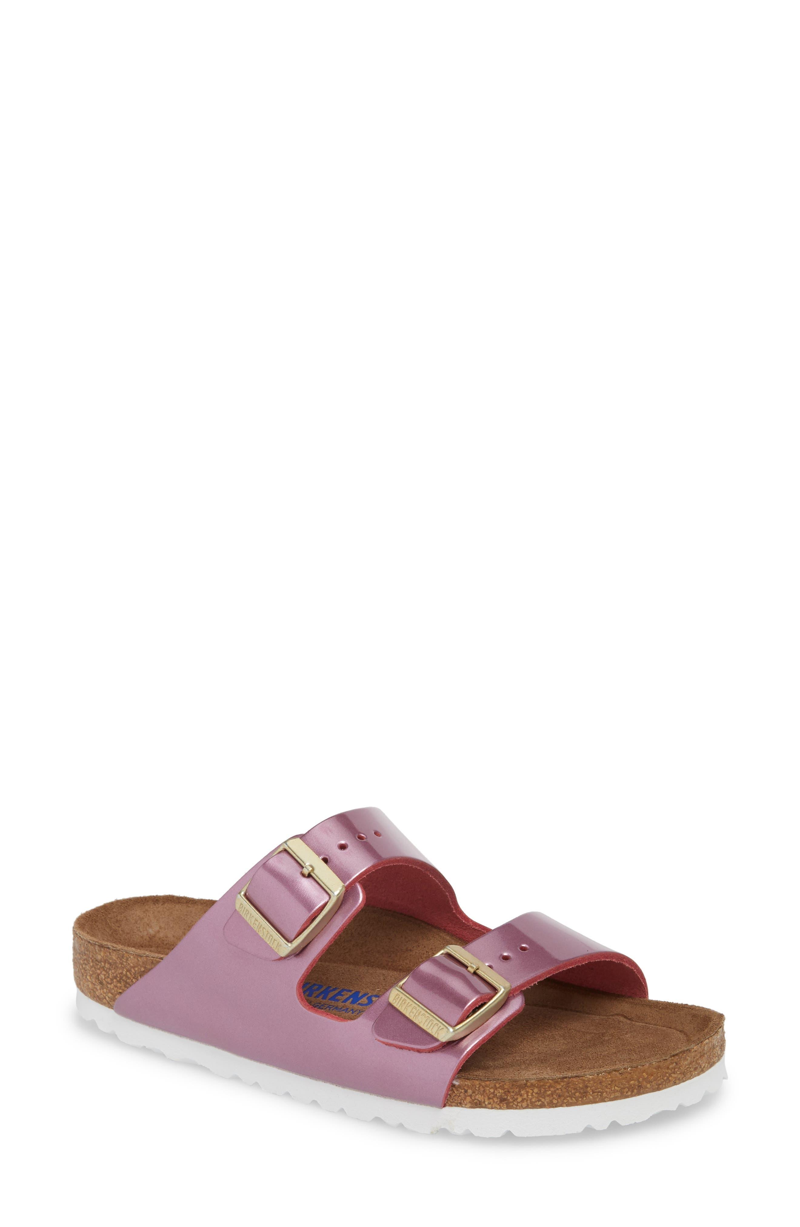 'Arizona' Soft Footbed Sandal,                             Main thumbnail 1, color,                             Spectacular Rose Leather