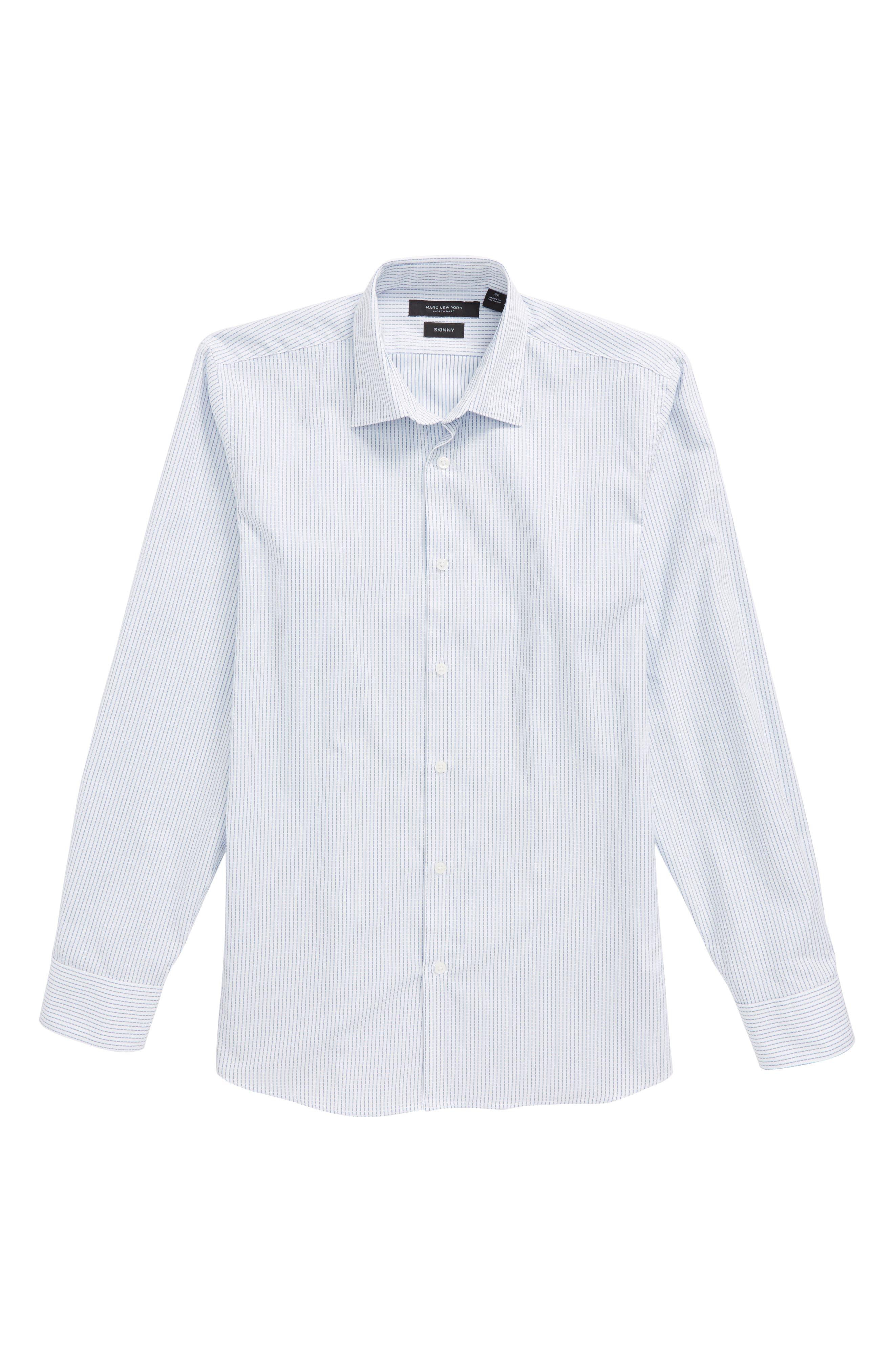Stripe Dress Shirt,                         Main,                         color, White/ Blue