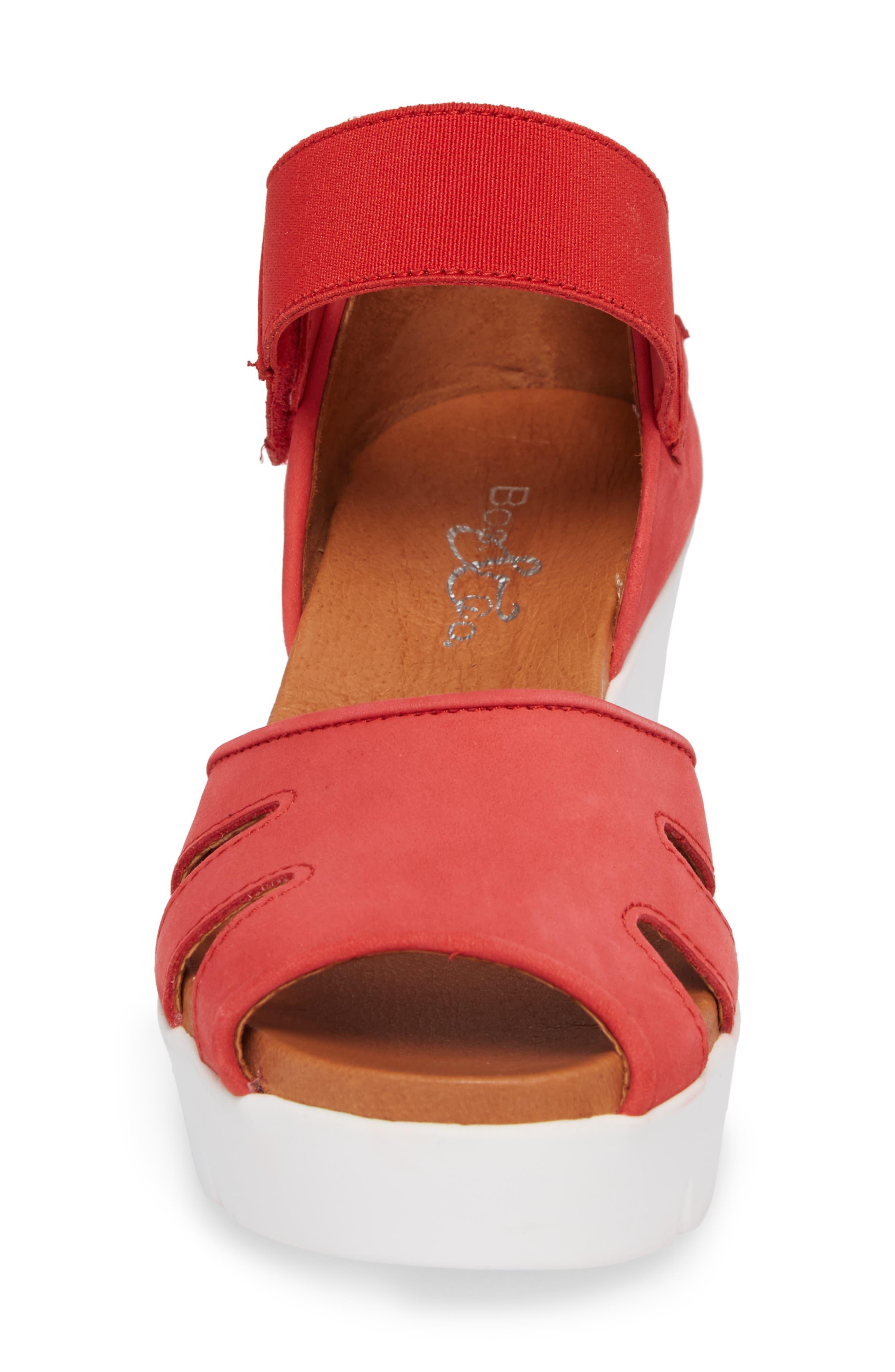 Sharon Platform Wedge Sandal,                             Alternate thumbnail 4, color,                             Red Nubuck Leather