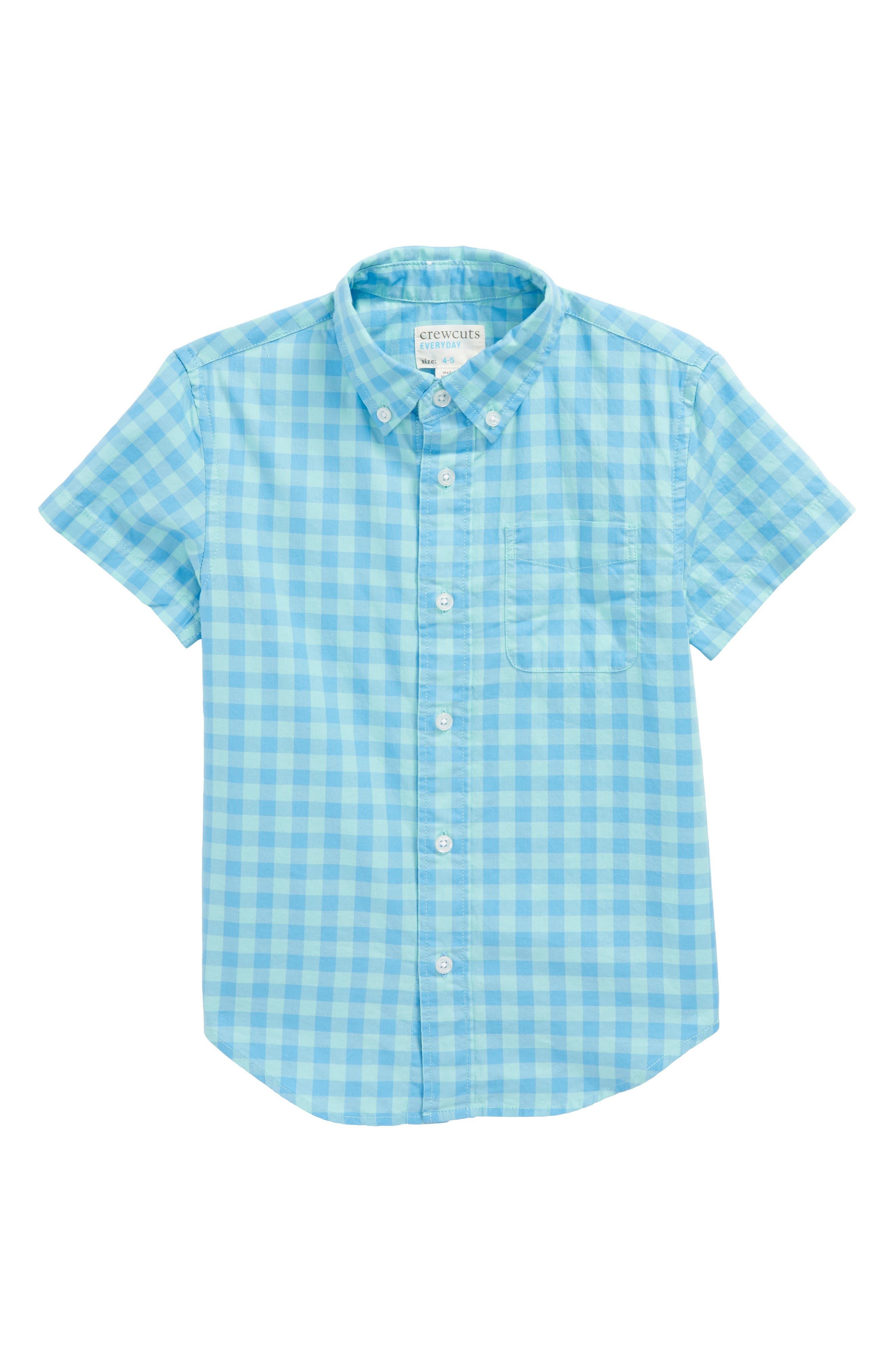 Milton Gingham Check Woven Shirt,                             Main thumbnail 1, color,                             Seaside