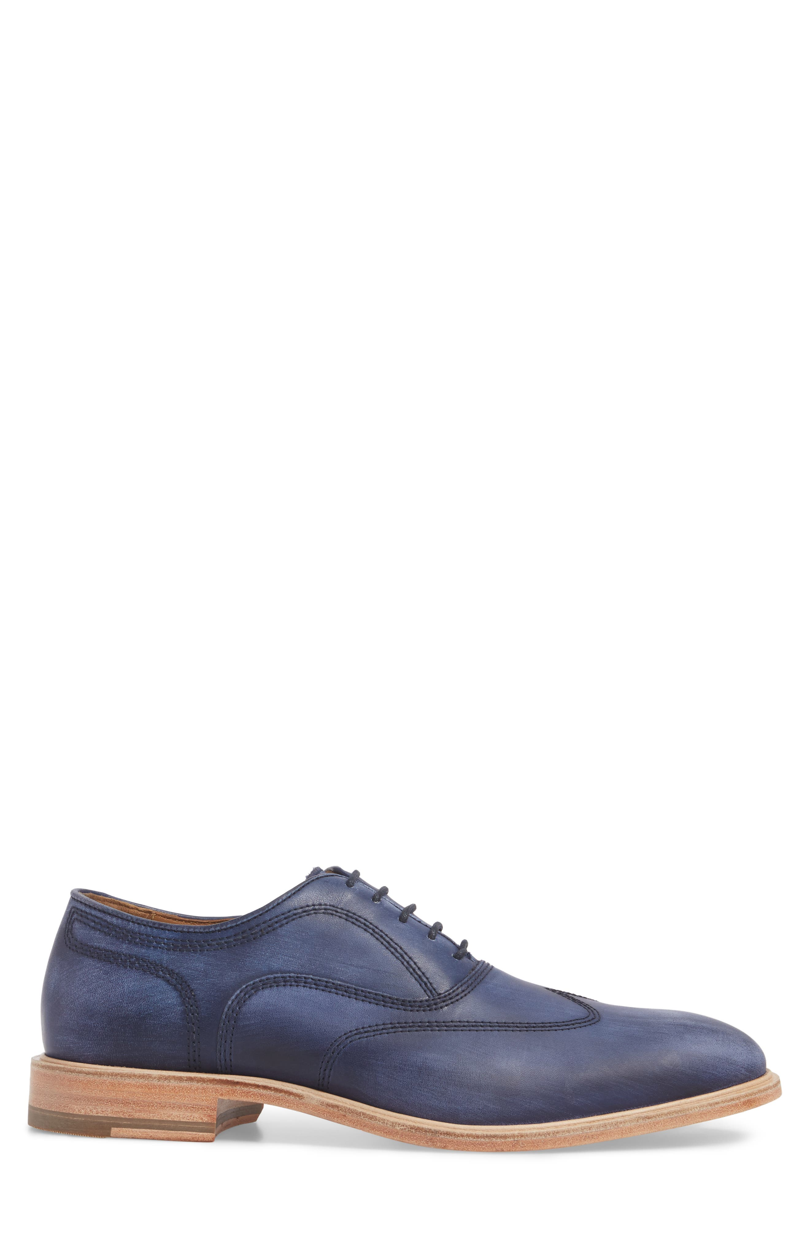 Chambliss Wingtip Oxford,                             Alternate thumbnail 3, color,                             Navy Leather