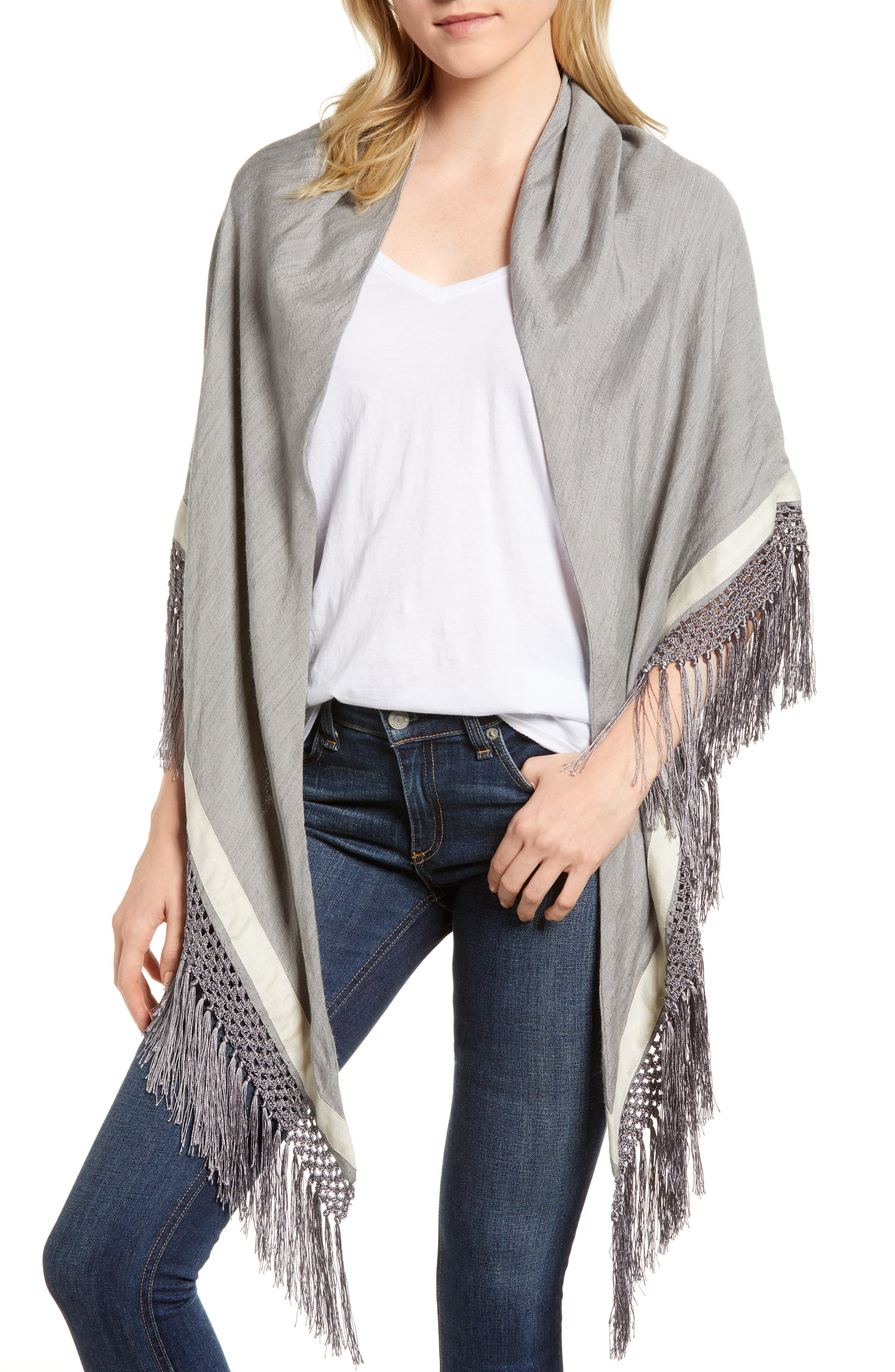 Sport Stripe Silk & Wool Poncho,                             Main thumbnail 1, color,                             Heather Grey