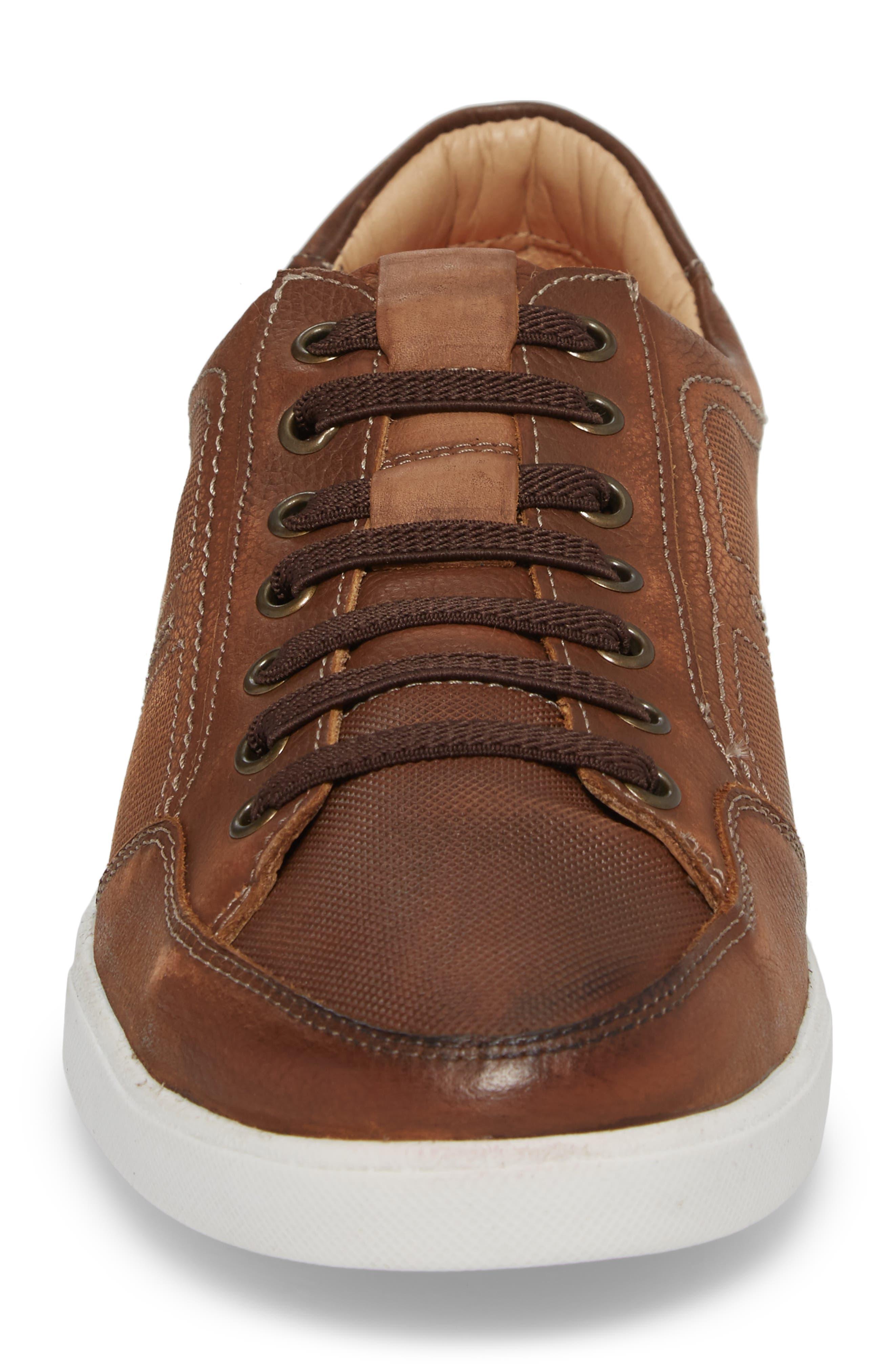Quinton Textured Low Top Sneaker,                             Alternate thumbnail 4, color,                             Tan Leather