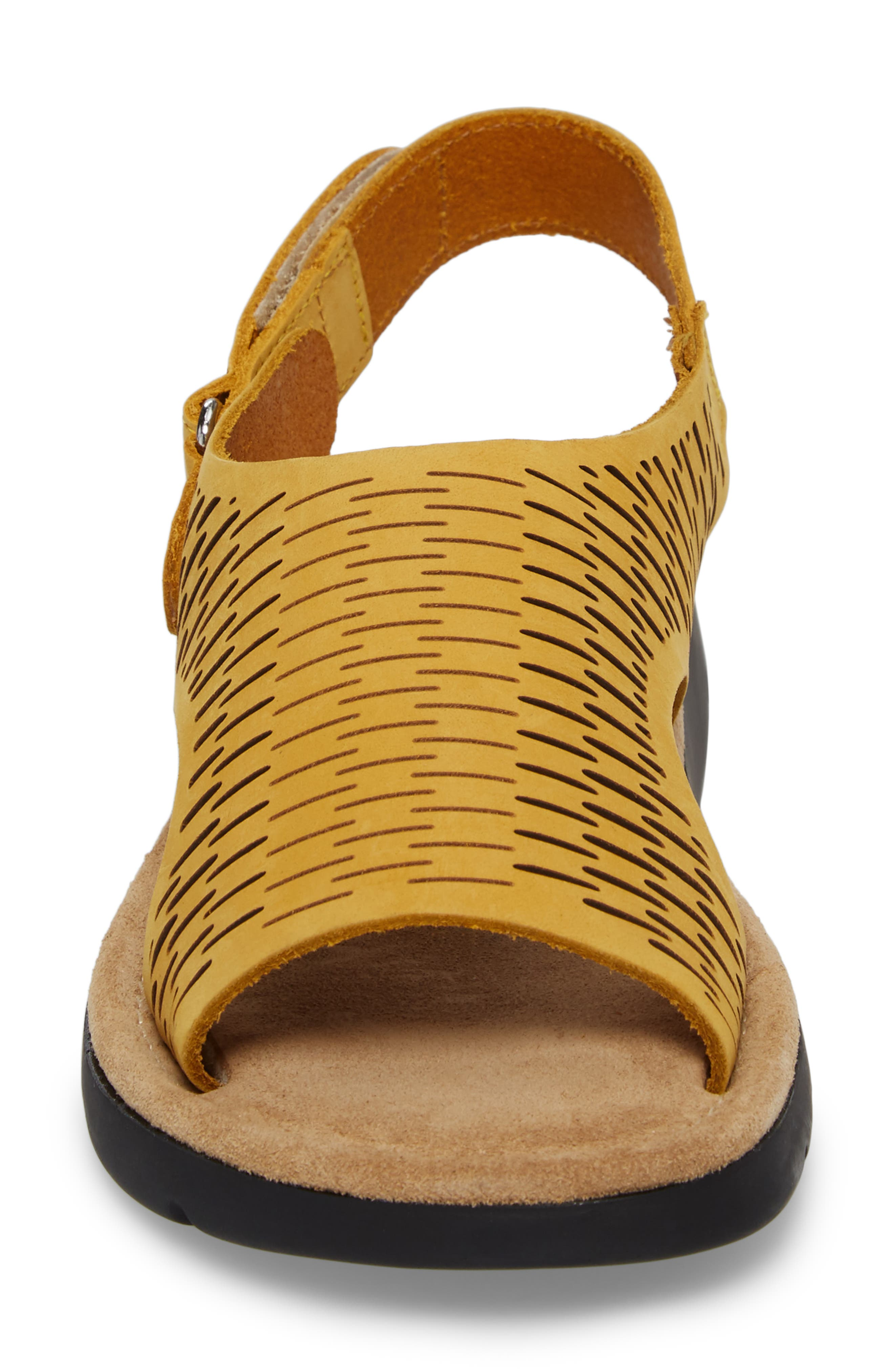 Saga Sandal,                             Alternate thumbnail 4, color,                             Mustard Nubuck Leather