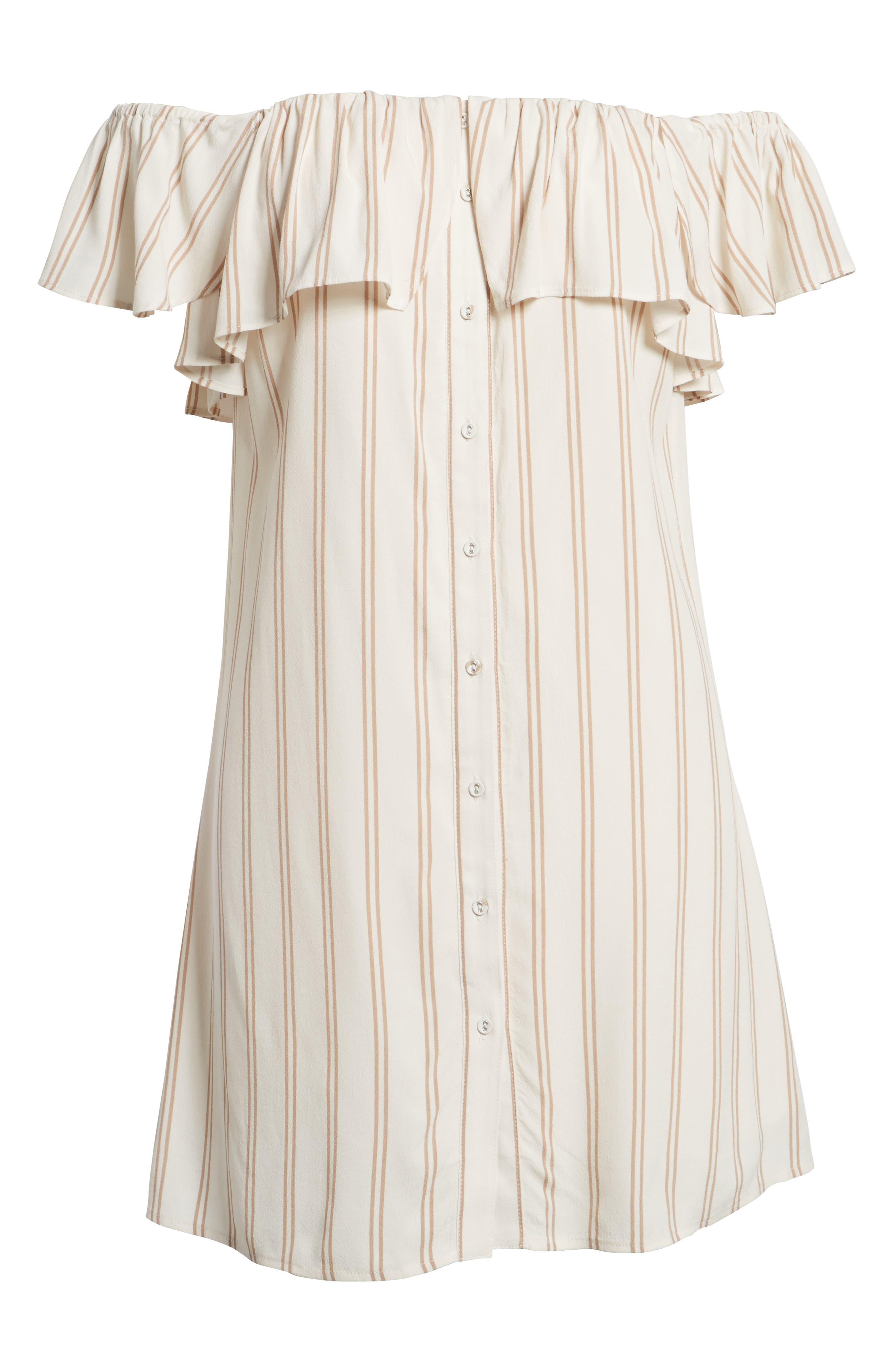 Stripe Off the Shoulder Dress,                             Alternate thumbnail 6, color,                             Ivory Egret Emily Stripe