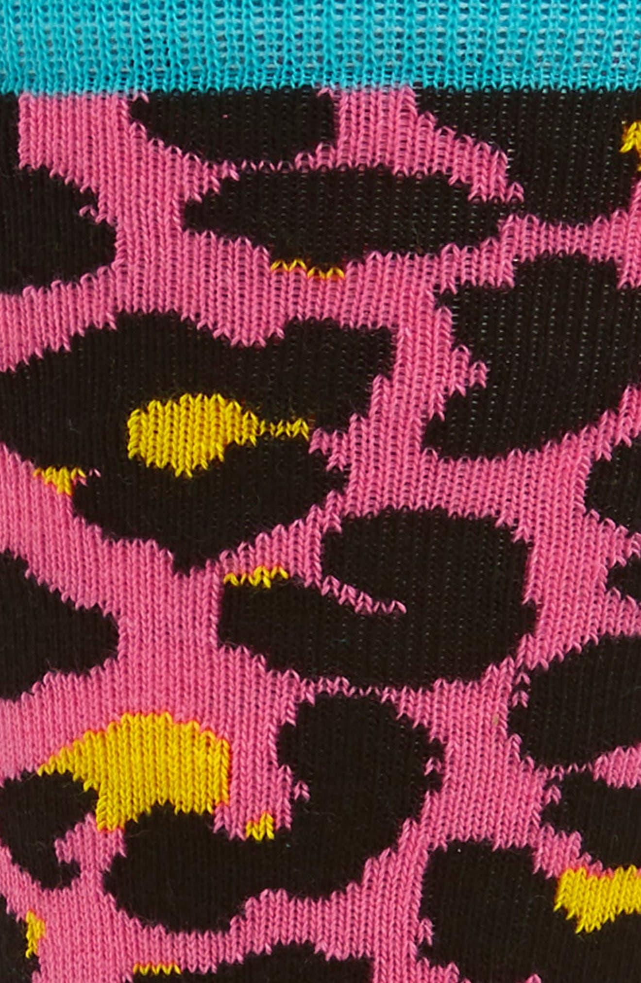 Leopard Crew Socks,                             Alternate thumbnail 2, color,                             Pink Multi