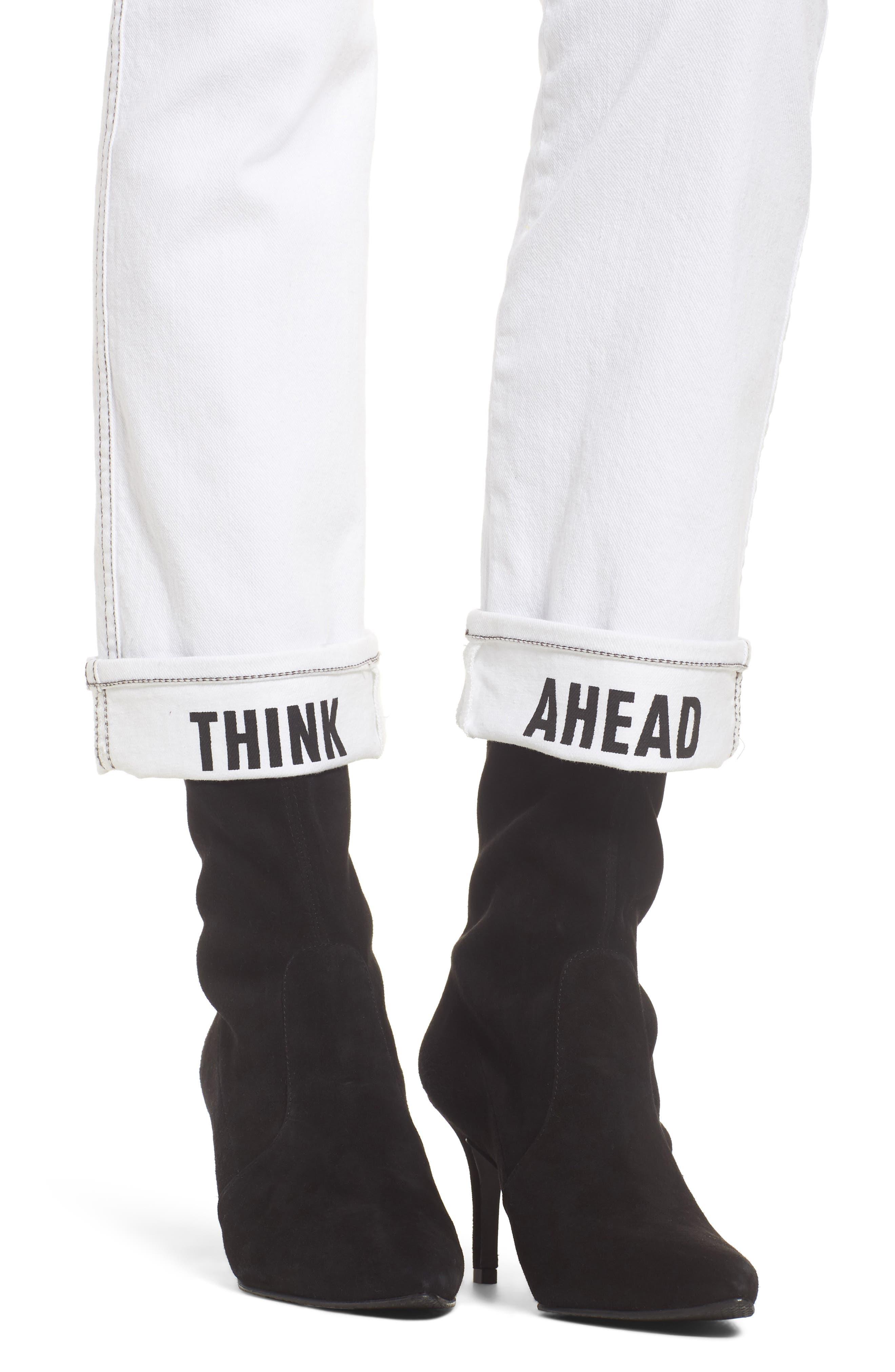 Dylan Print Cuff Straight Leg Jeans,                             Alternate thumbnail 4, color,                             White Fashion W/ Black Print