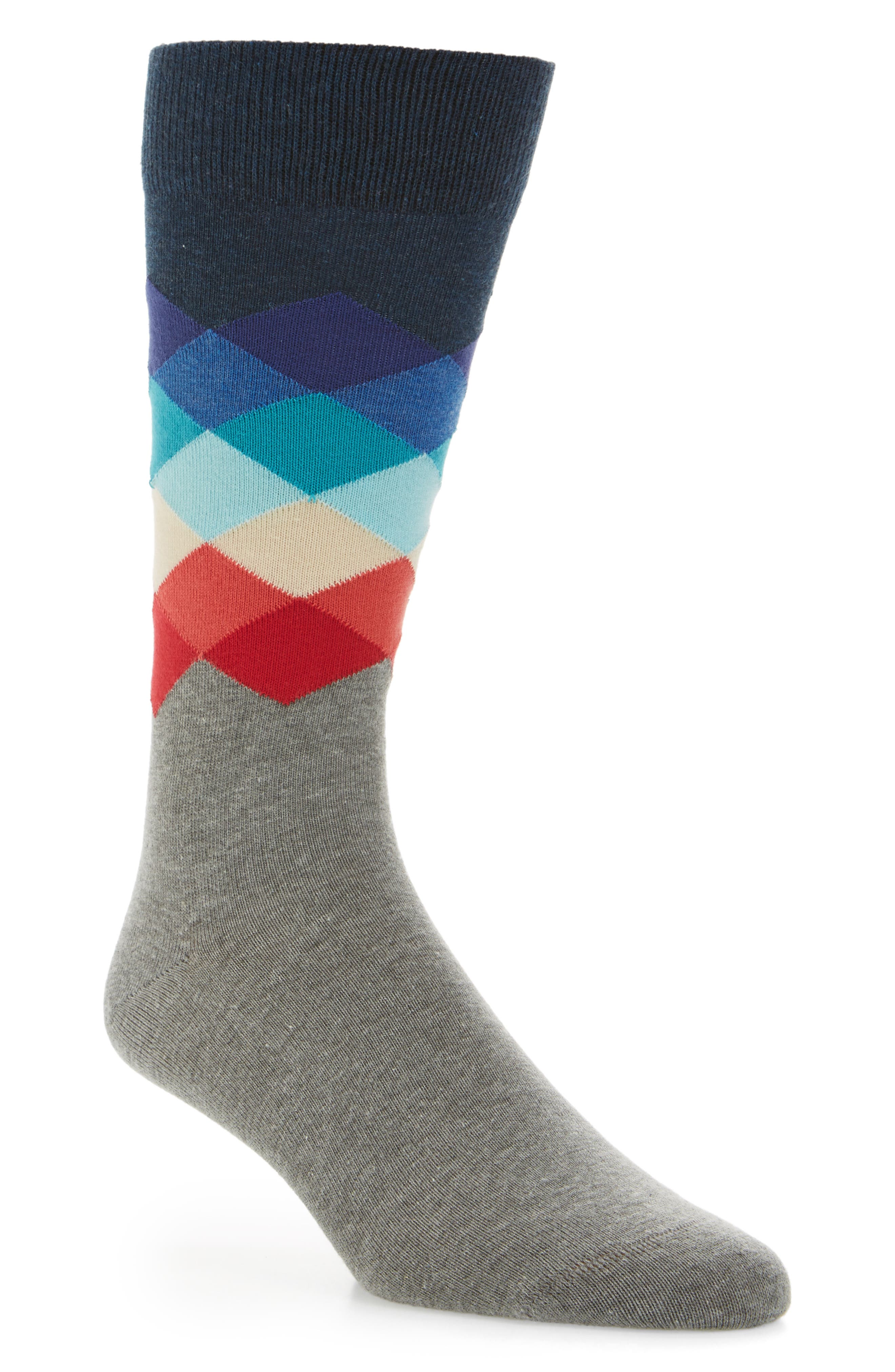 Faded Diamond Socks,                         Main,                         color, Navy Multi
