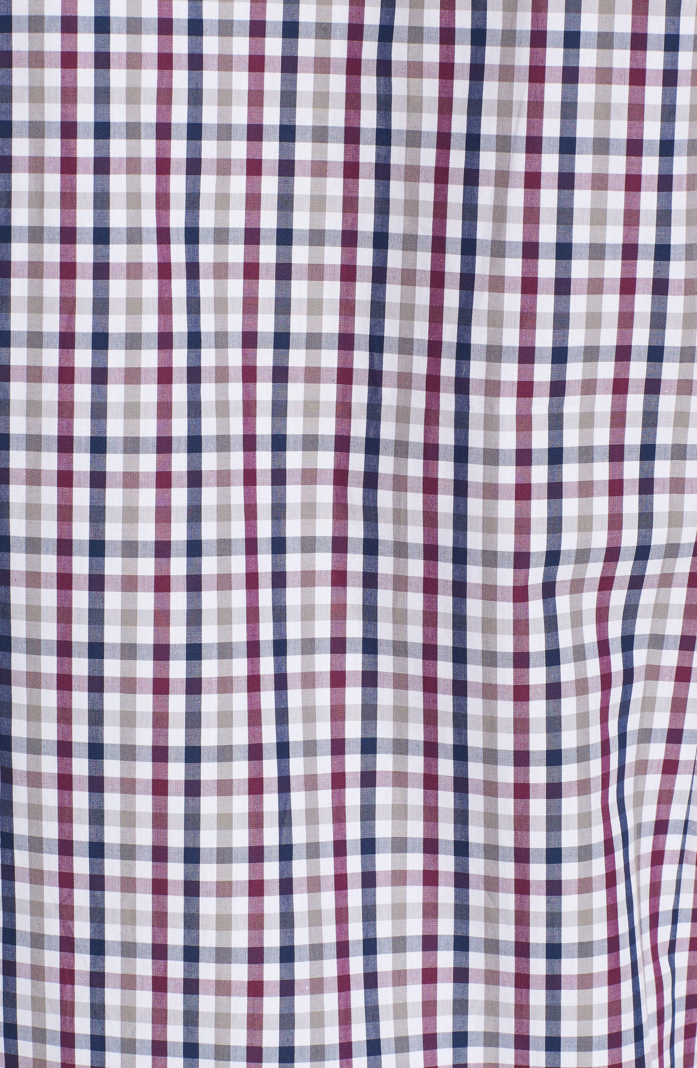 Slim Fit Check Sport Shirt,                             Alternate thumbnail 5, color,                             Dark Red
