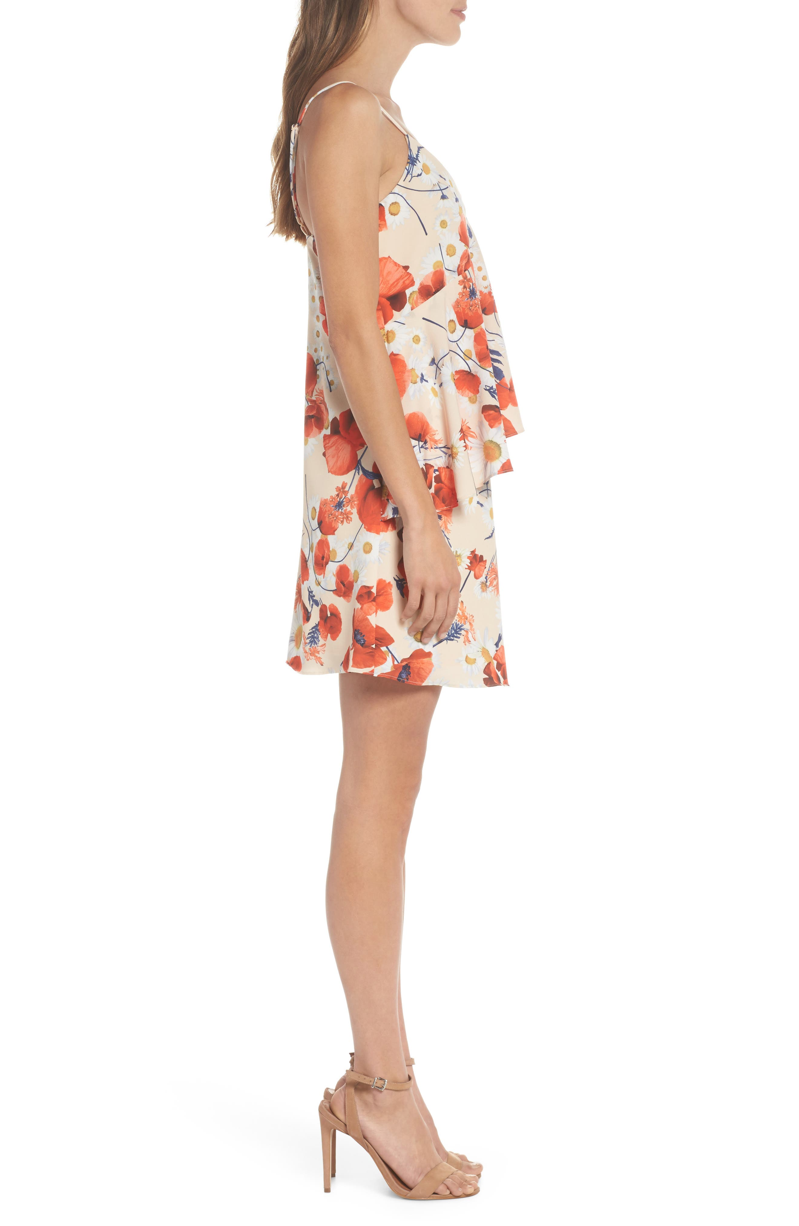 Cara Floral Layered Dress,                             Alternate thumbnail 3, color,                             Coral Floral