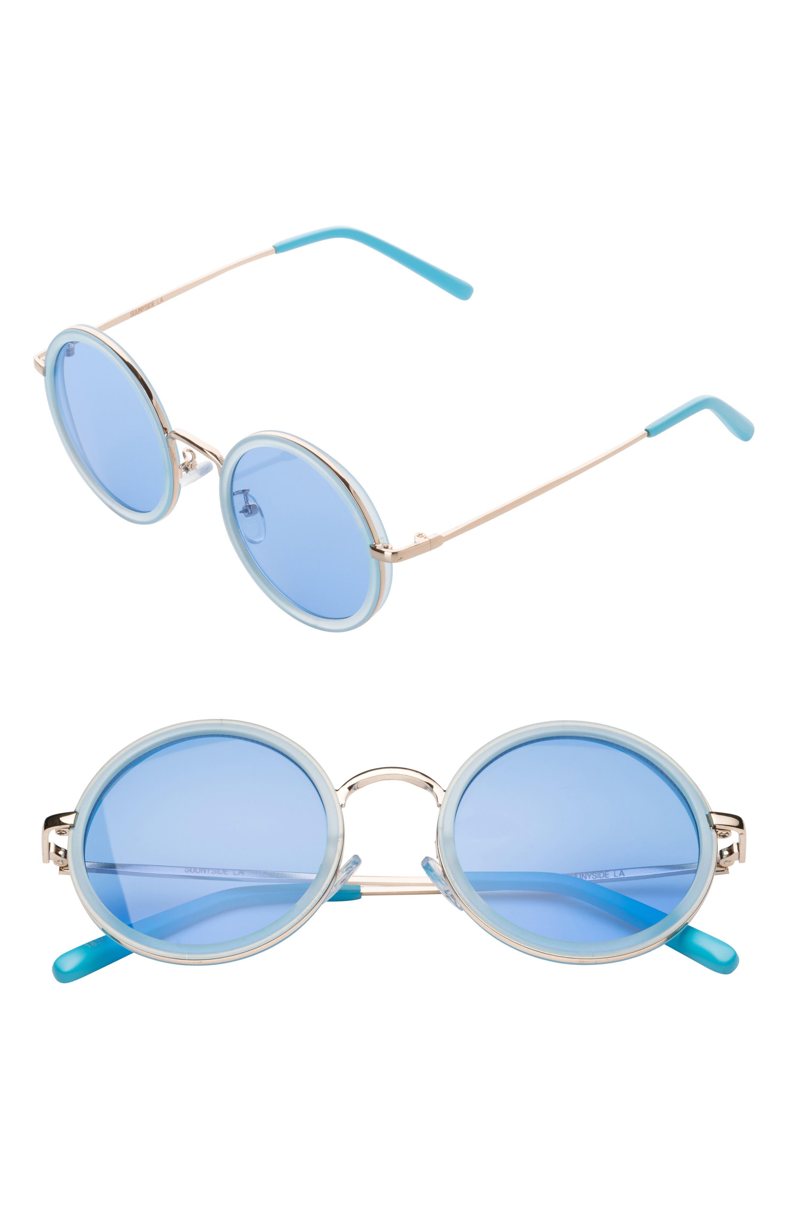 48mm Round Sunglasses,                         Main,                         color, Blue/ Silver