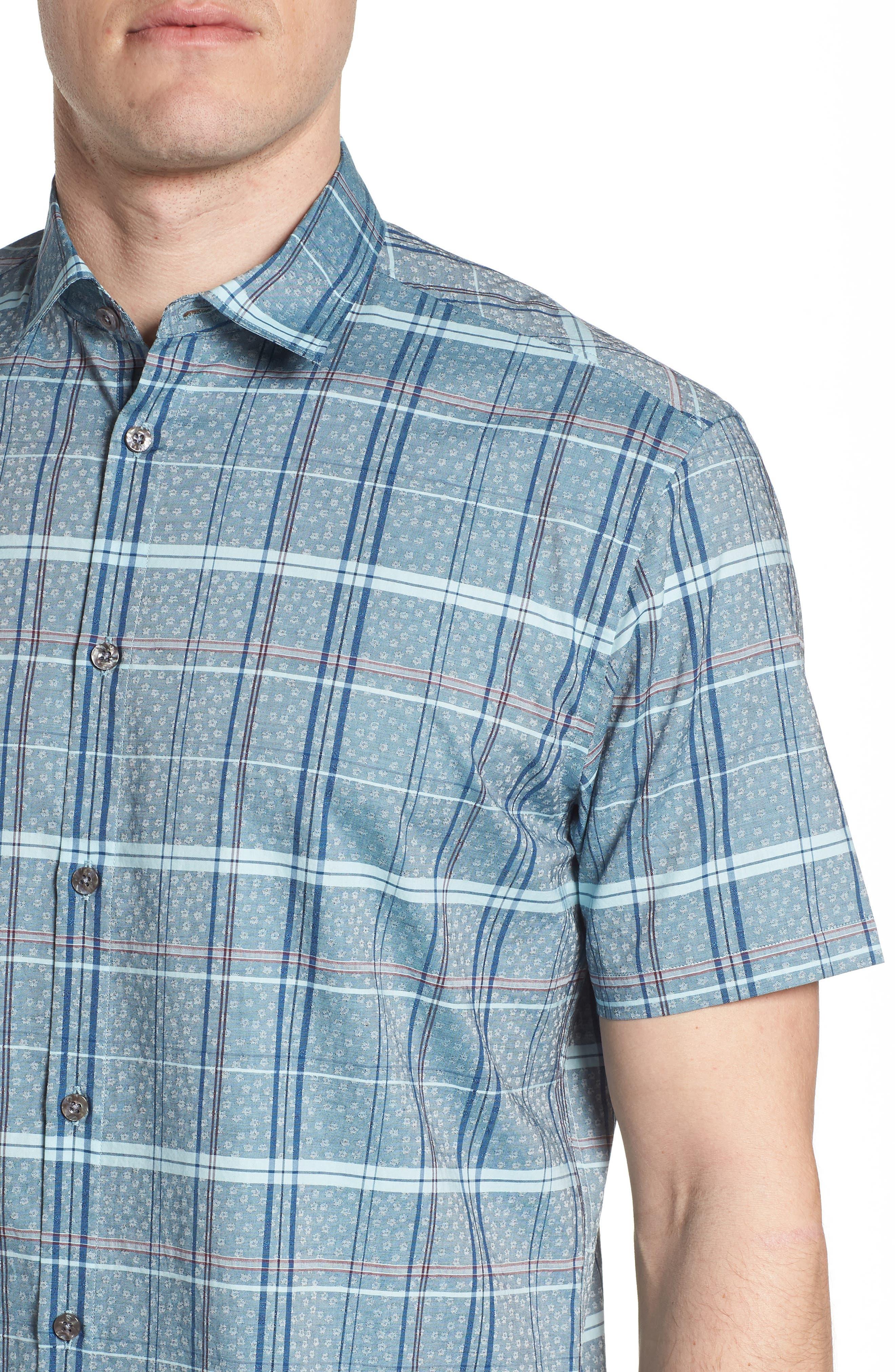 Vacaso Regular Fit Plaid Jacquard Sport Shirt,                             Alternate thumbnail 2, color,                             Water