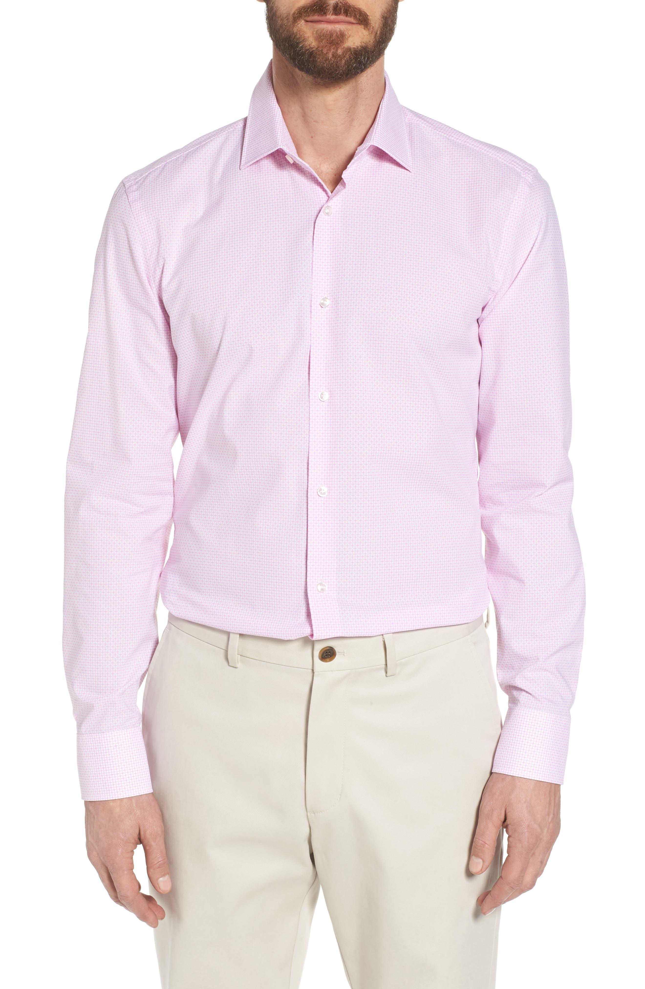 Jesse Slim Fit Check Dress Shirt,                         Main,                         color, Pink
