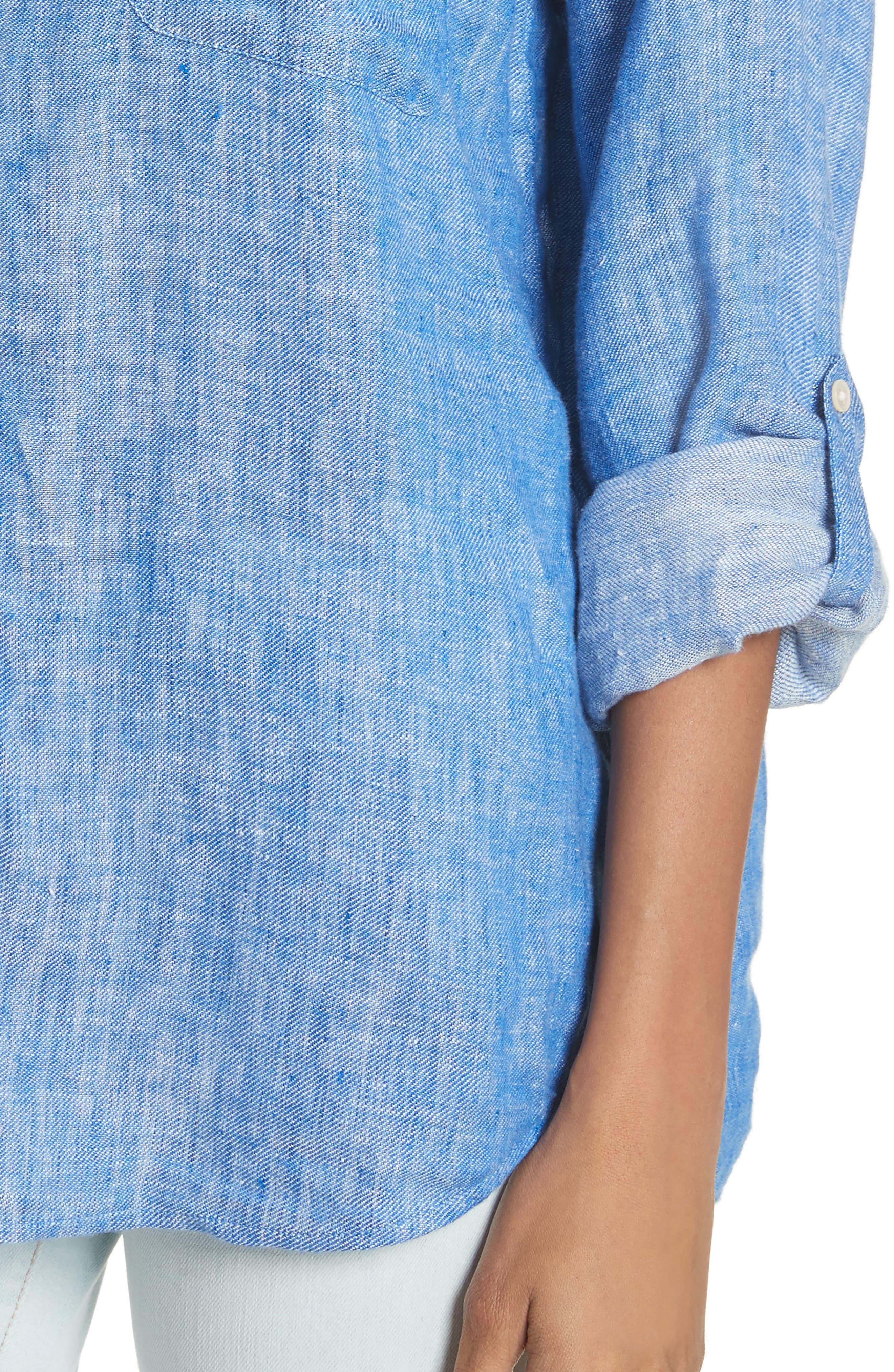 Lidelle Button Tab Linen Blouse,                             Alternate thumbnail 4, color,                             Surf Break