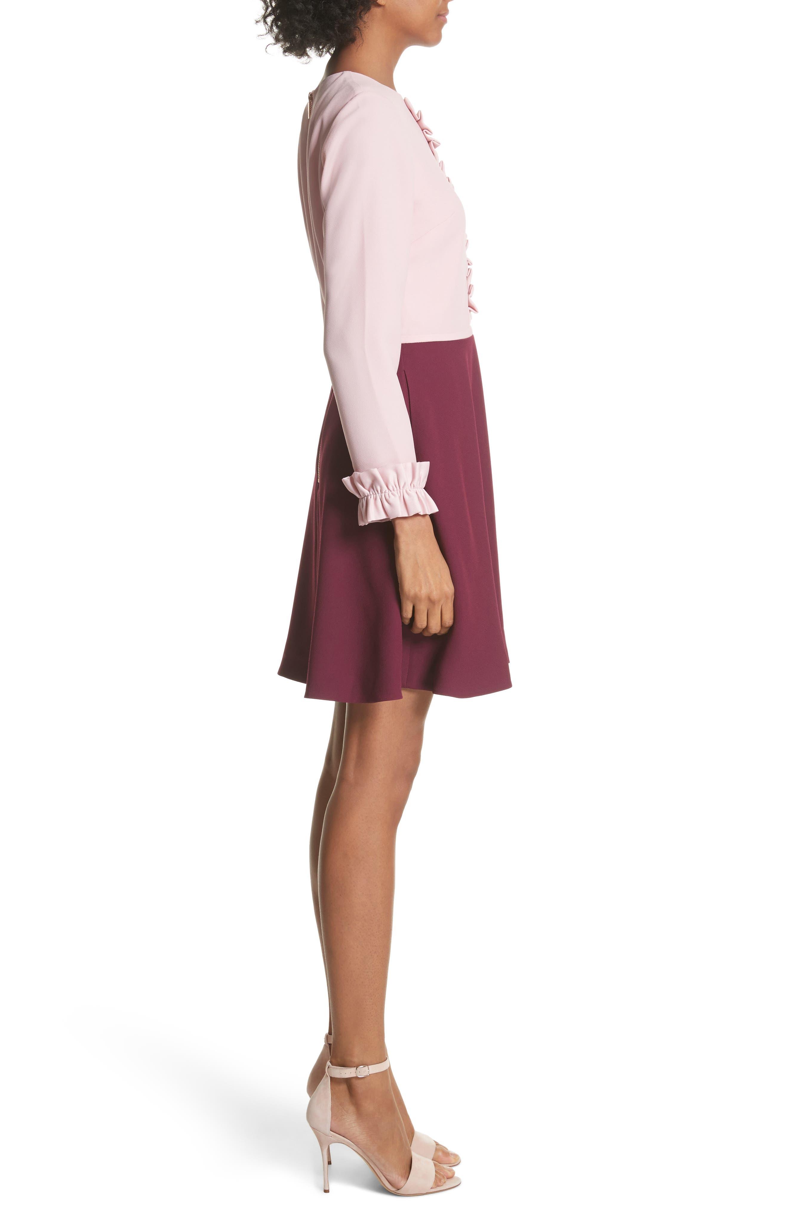 Steyla Ruffle Dress,                             Alternate thumbnail 3, color,                             Dusky Pink