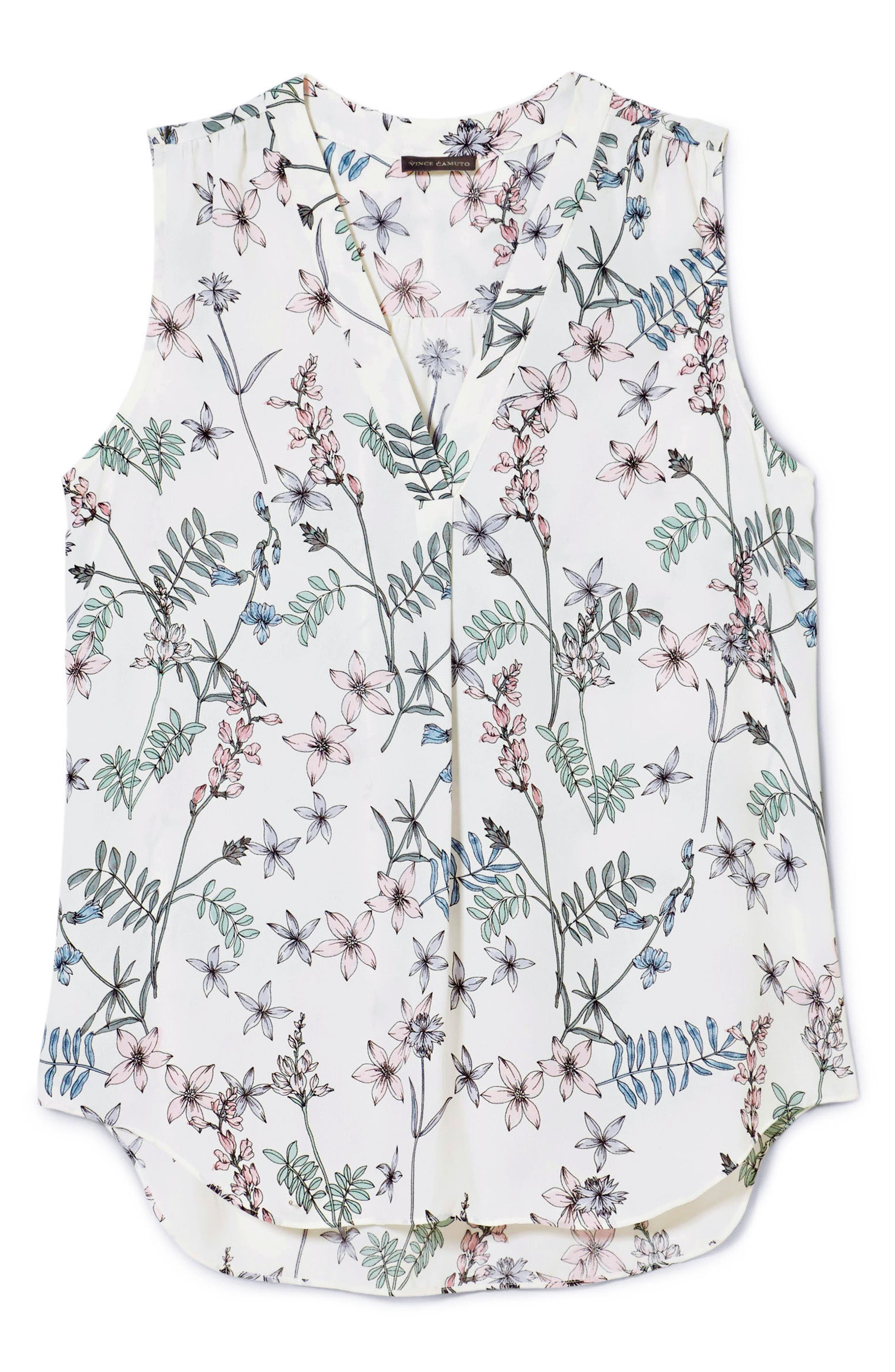 Floral Sleeveless Top,                             Alternate thumbnail 5, color,                             New Ivory