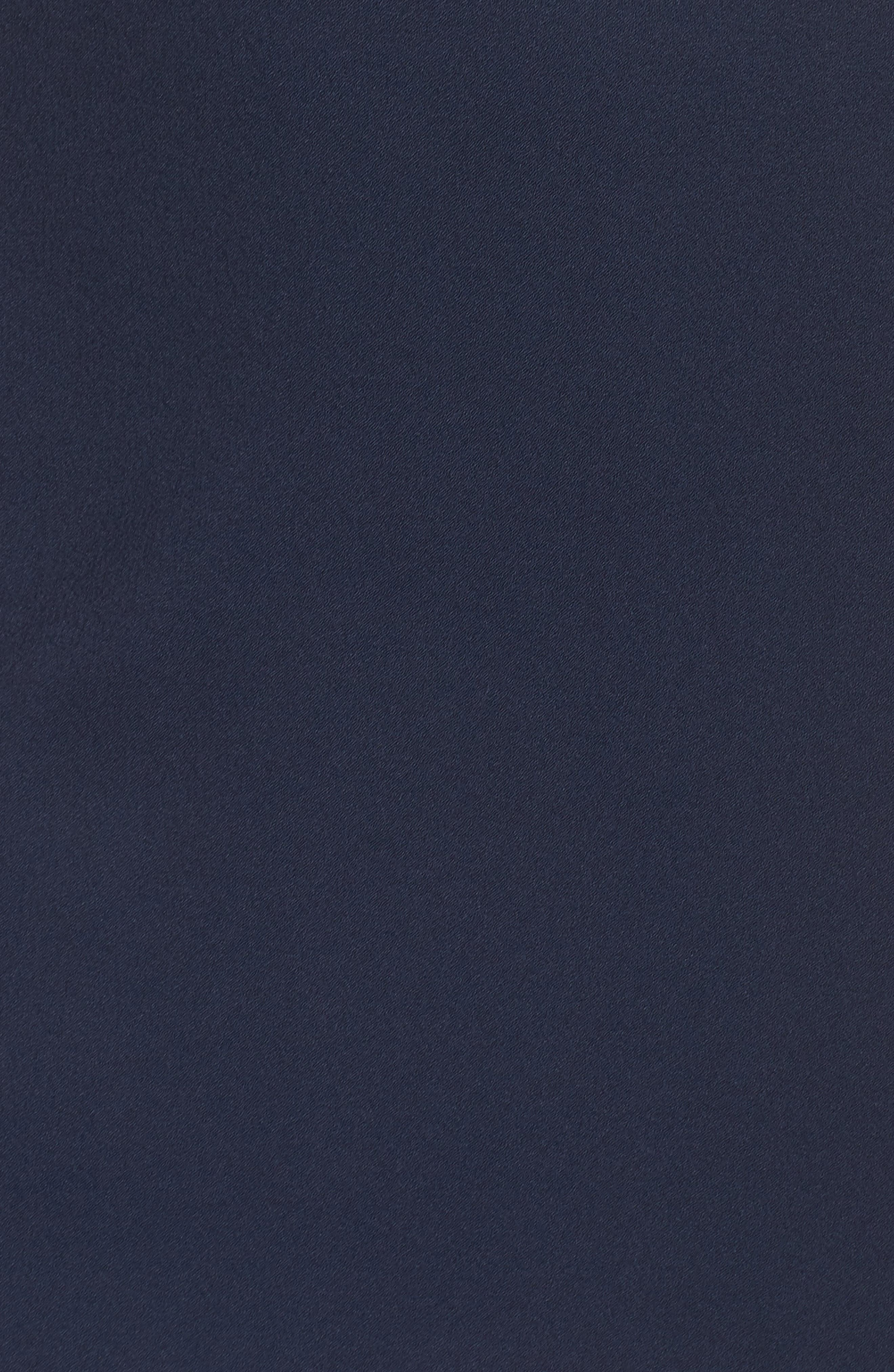 Cold Shoulder Satin Trim Dress,                             Alternate thumbnail 6, color,                             Navy