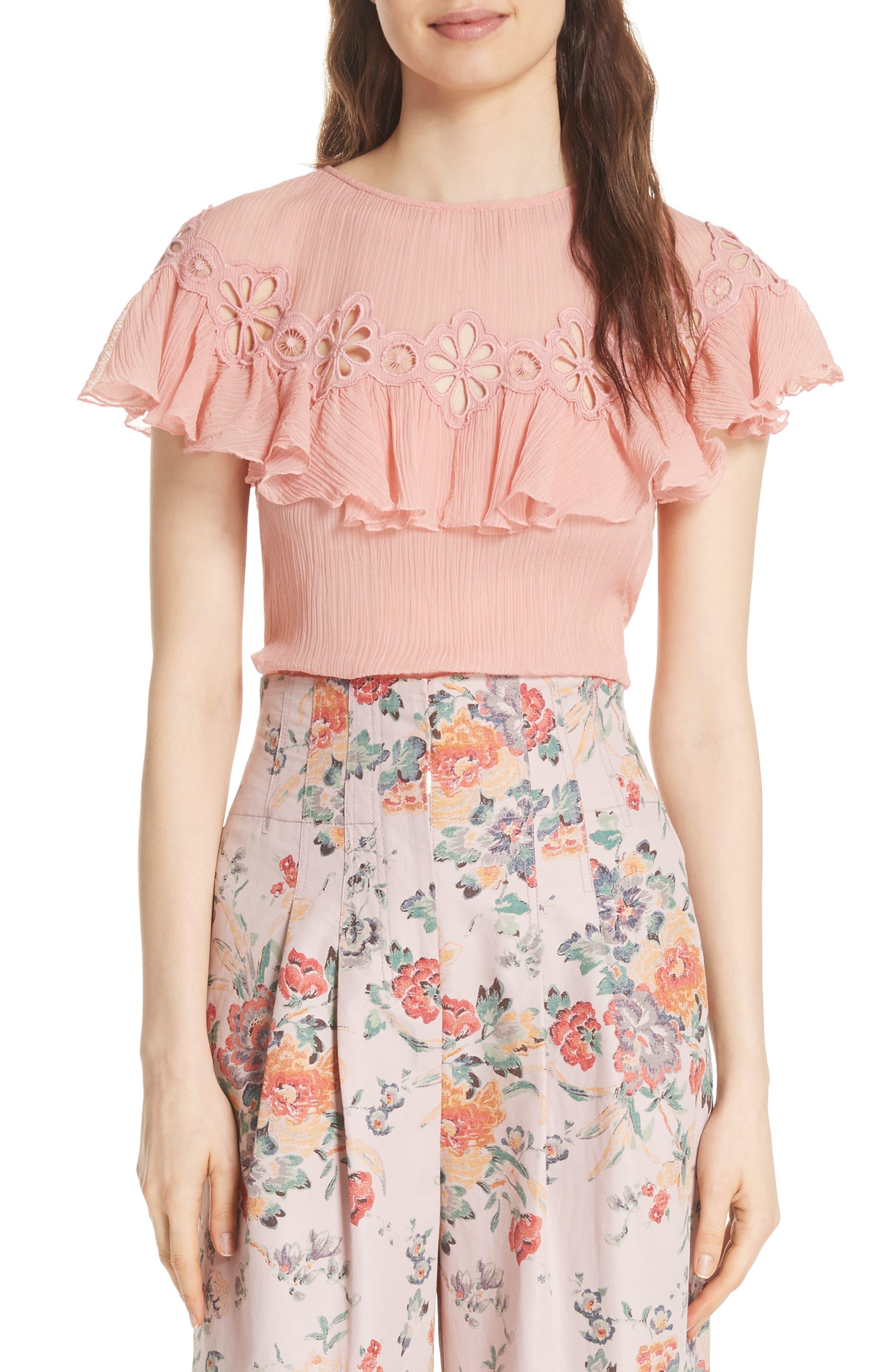 Pinwheel Silk & Cotton Top,                         Main,                         color, Peony