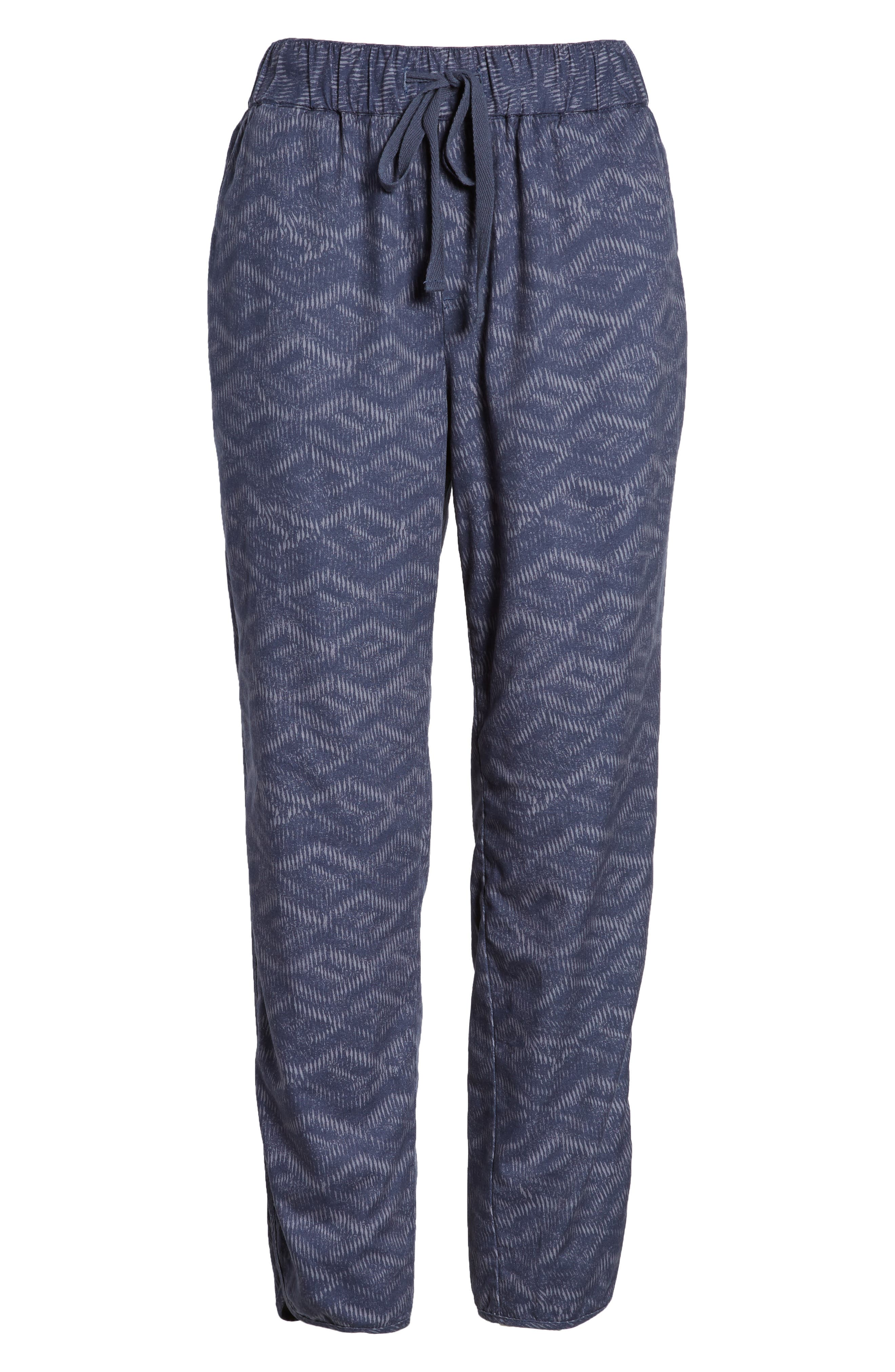 Pattern Cotton Blend Drawstring Pants,                             Alternate thumbnail 7, color,                             Navy Ikat Diamonds
