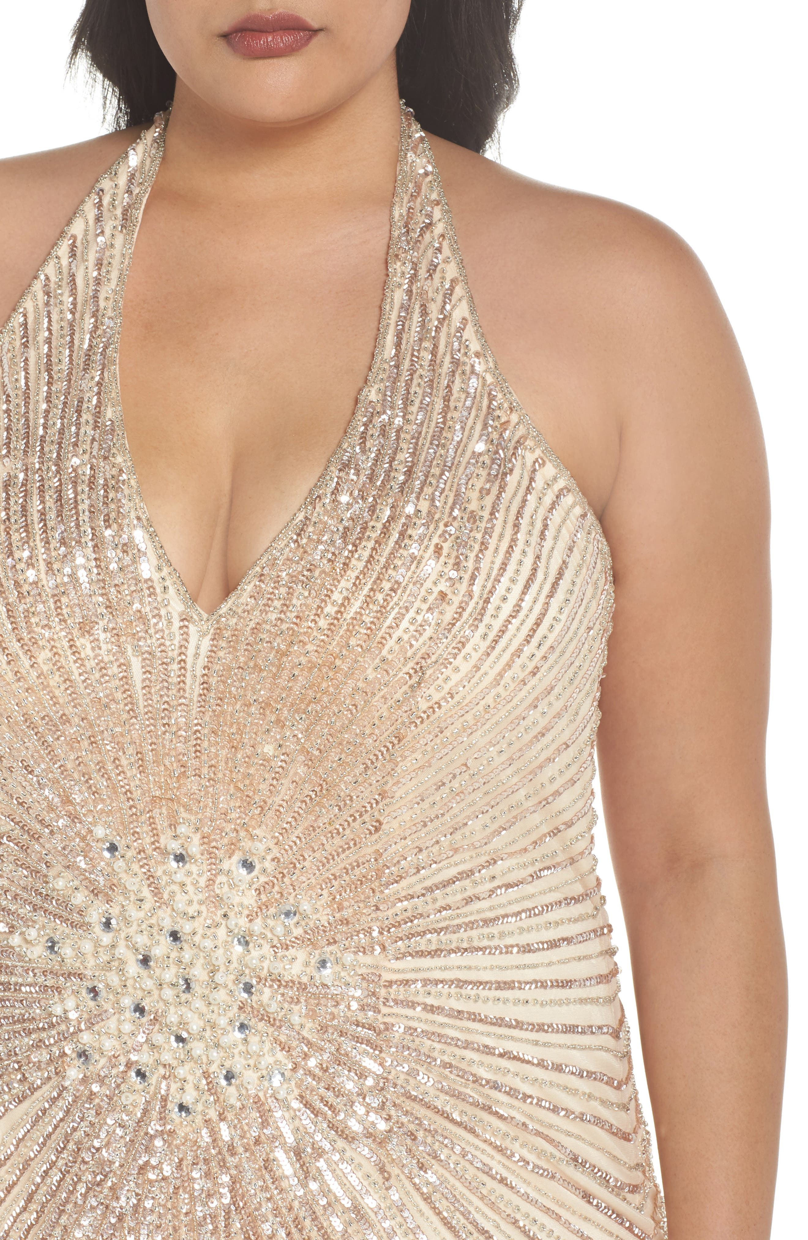 Sequin Halter Gown,                             Alternate thumbnail 4, color,                             Nude