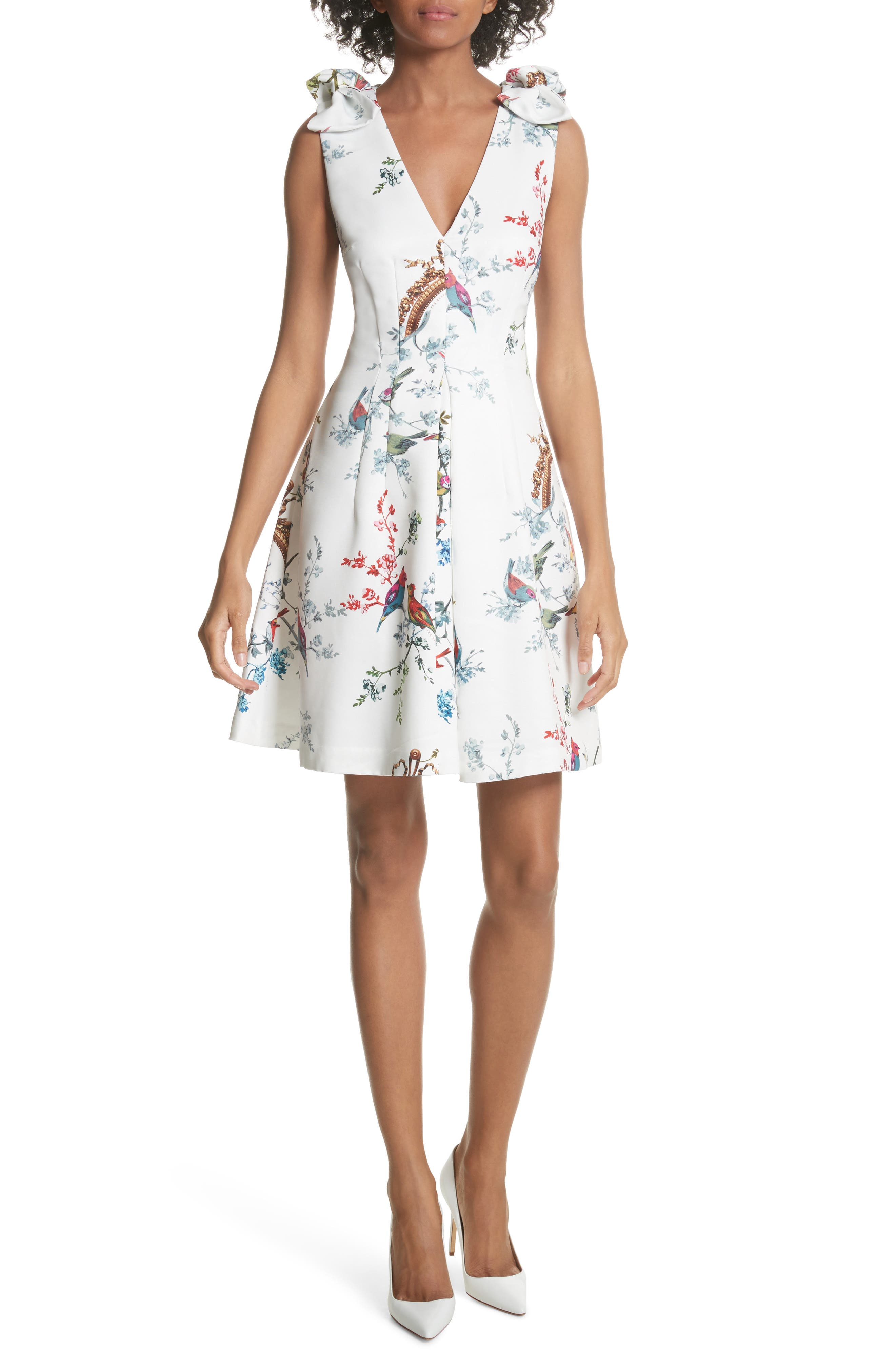 Opulent Fauna Fit & Flare Dress,                         Main,                         color, White
