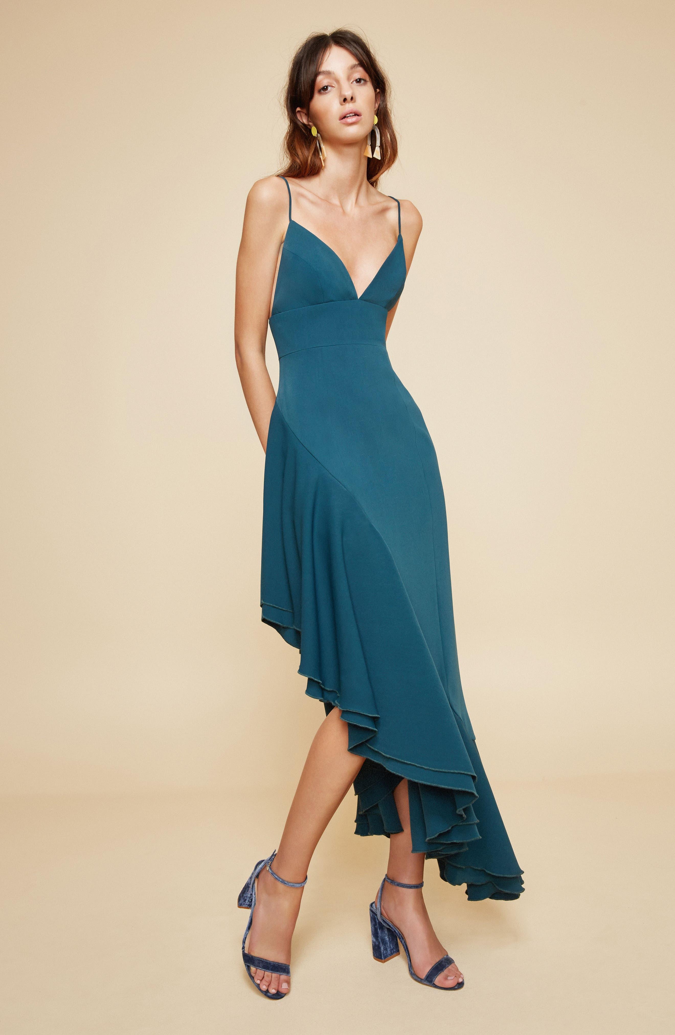 Temptation Asymmetrical Gown,                             Alternate thumbnail 2, color,                             Emerald