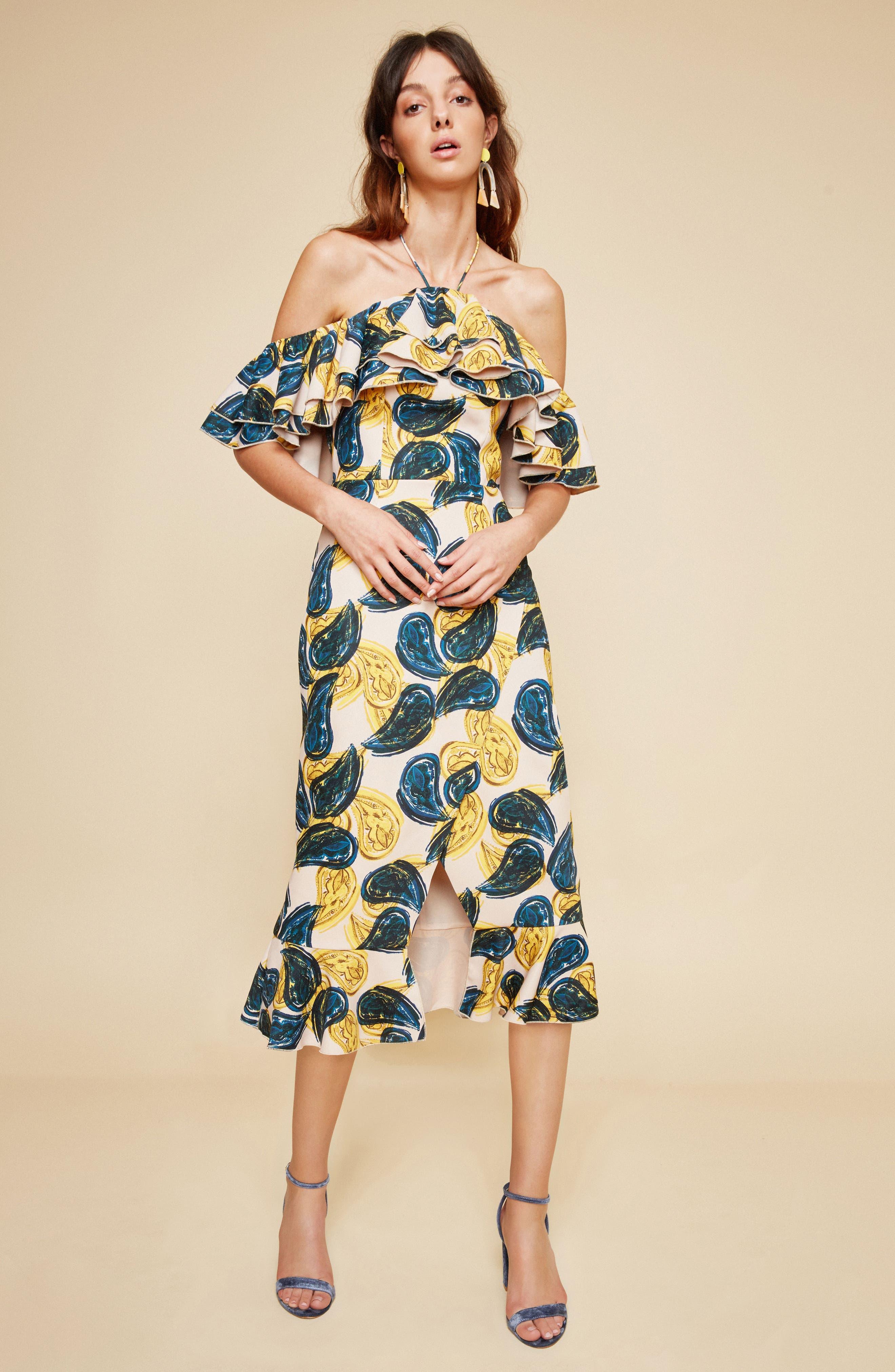 Temptation Halter Sheath Dress,                             Alternate thumbnail 2, color,                             Blush Paisley