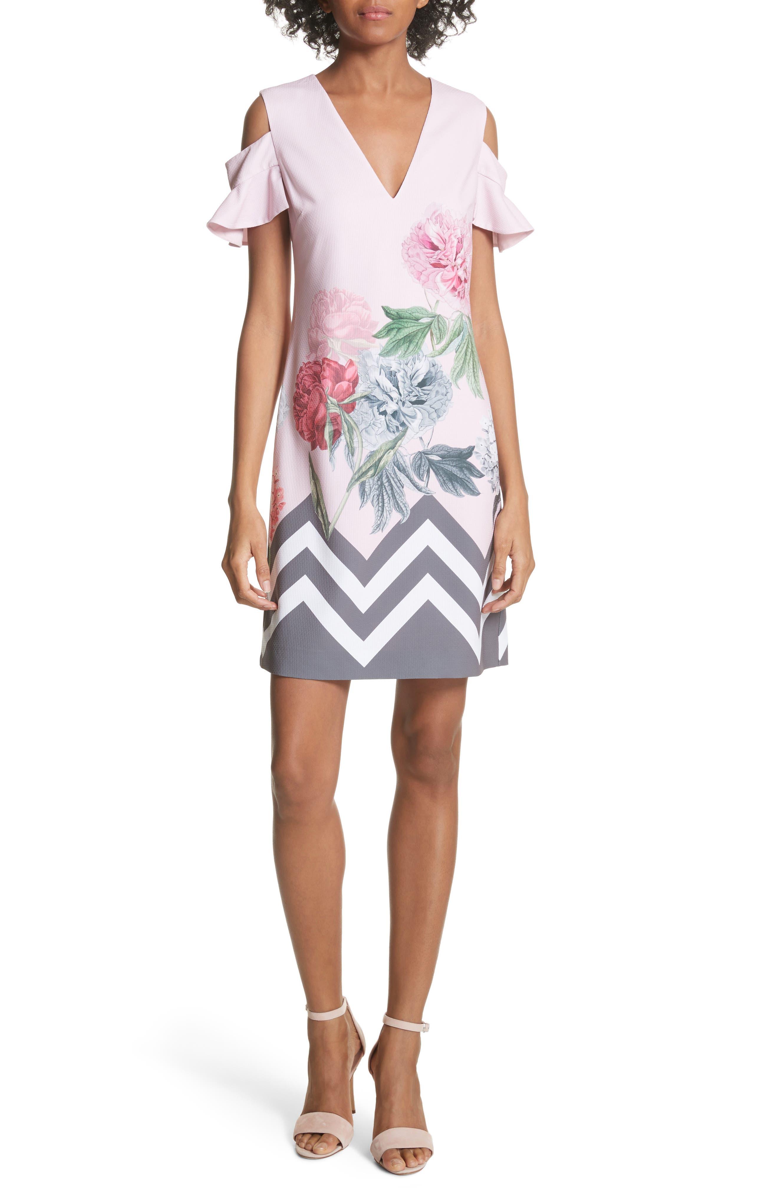 Jareye Cutout Tunic Dress,                             Main thumbnail 1, color,                             Dusky Pink