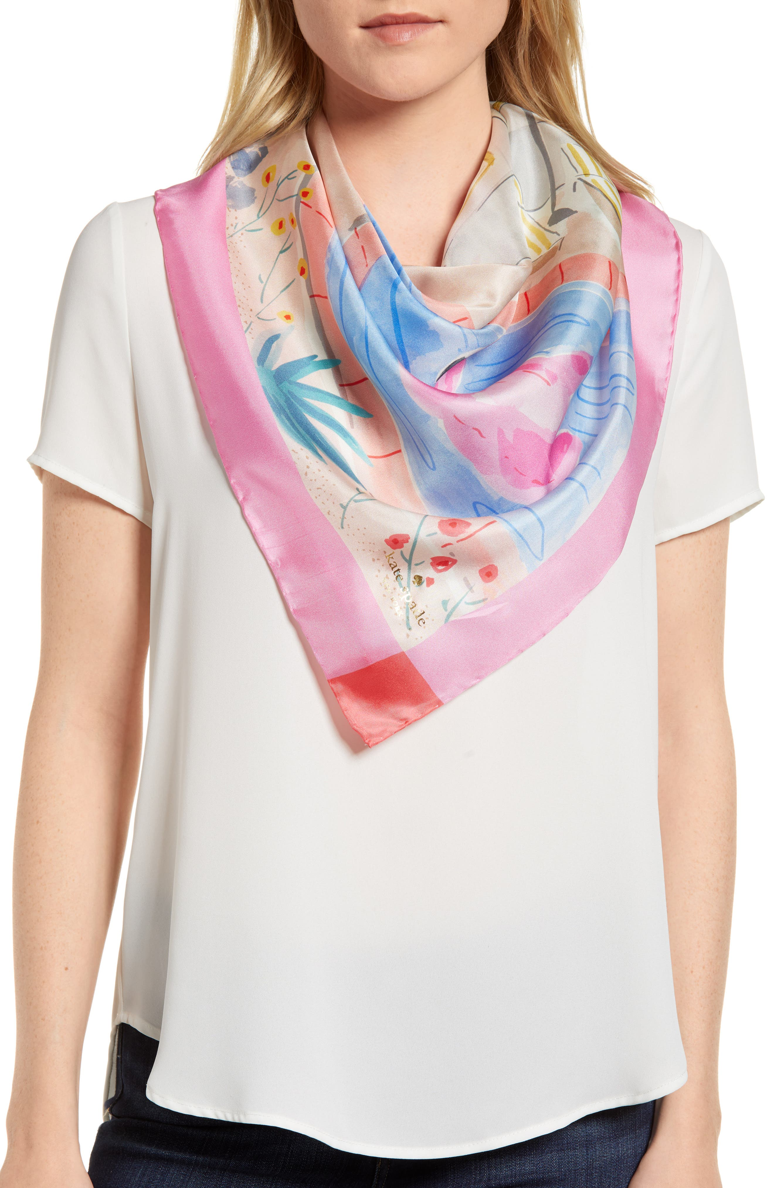 palm springs pool square silk scarf,                             Main thumbnail 1, color,                             Surf Pink
