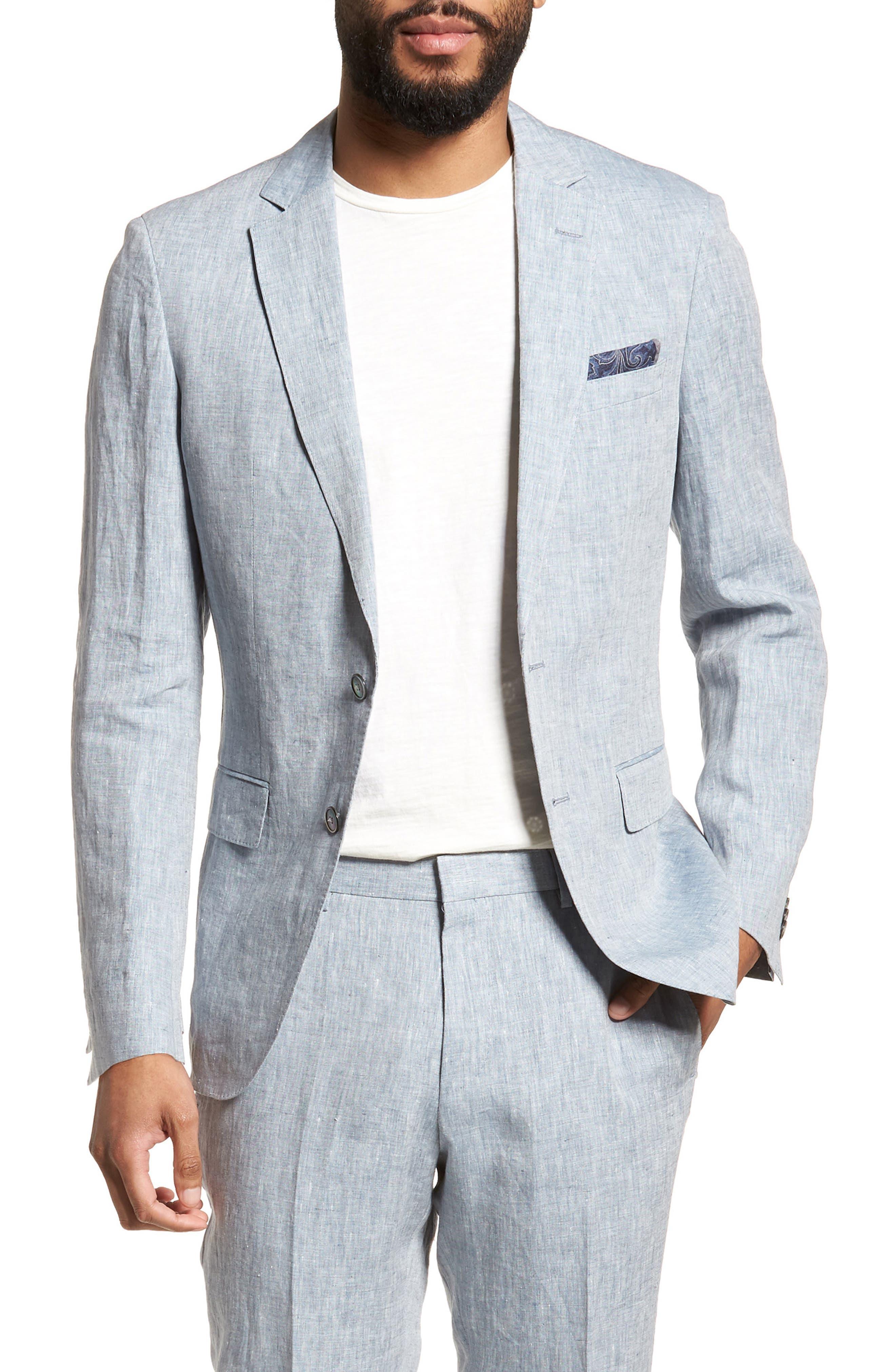 Helford/Gander Trim Fit Solid Linen Suit,                             Alternate thumbnail 5, color,                             Light Blue