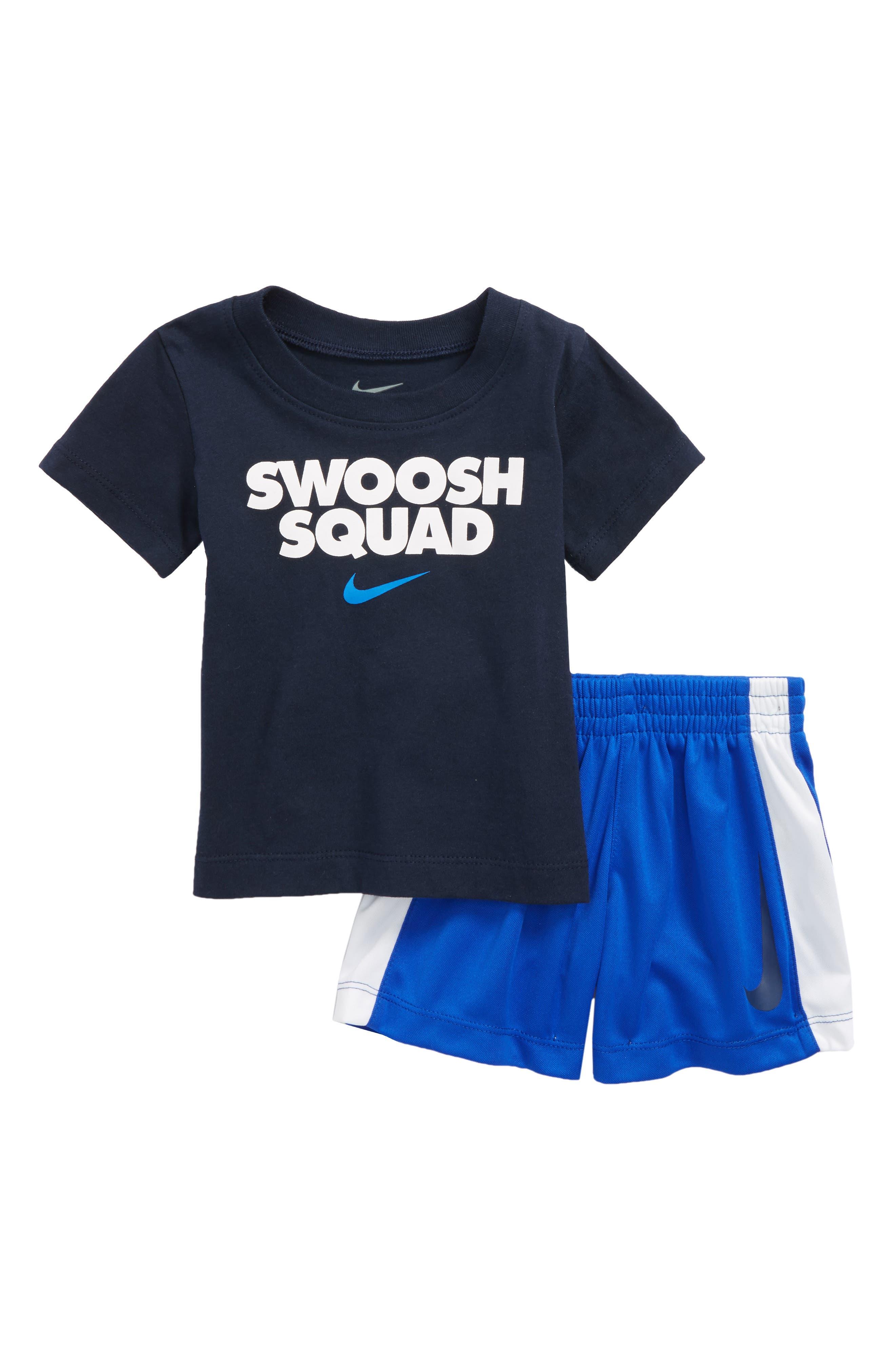 Swoosh Squad T-Shirt & Shorts Set,                             Main thumbnail 1, color,                             Hyper Royal