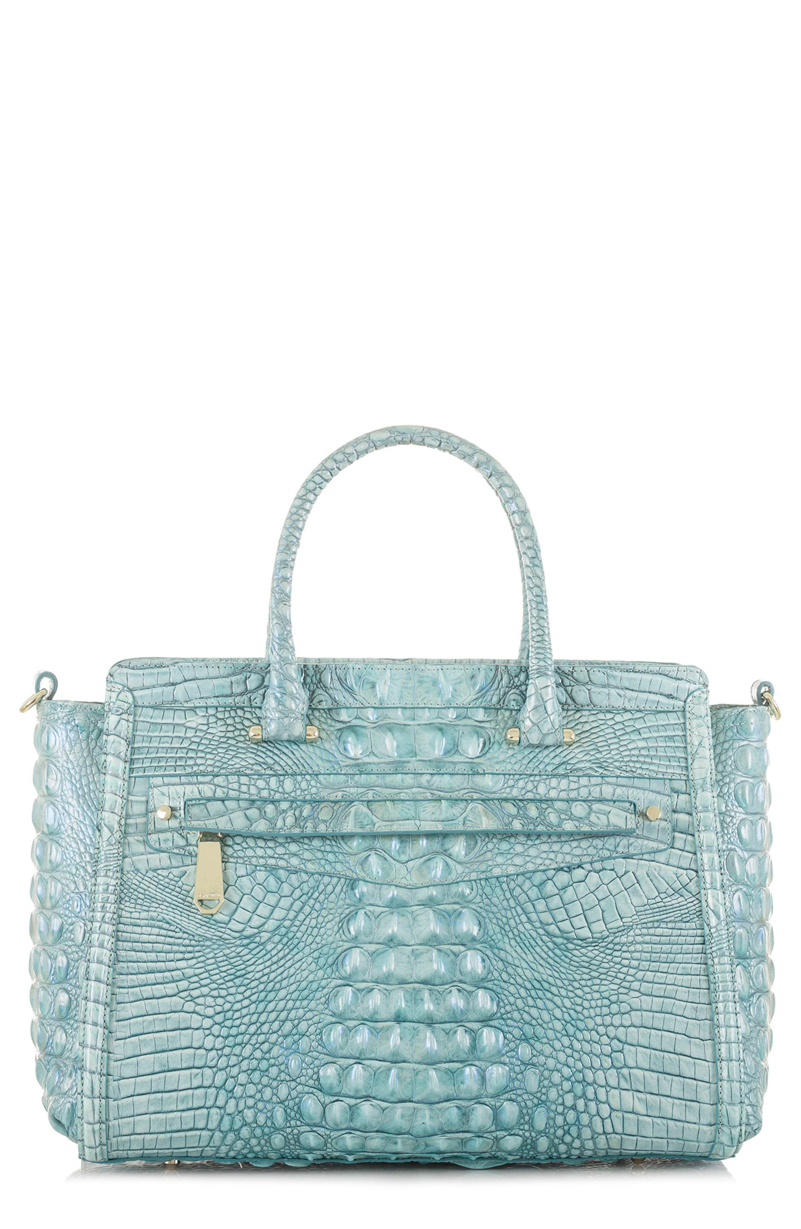 Harper Embossed Leather Satchel,                         Main,                         color, Astral