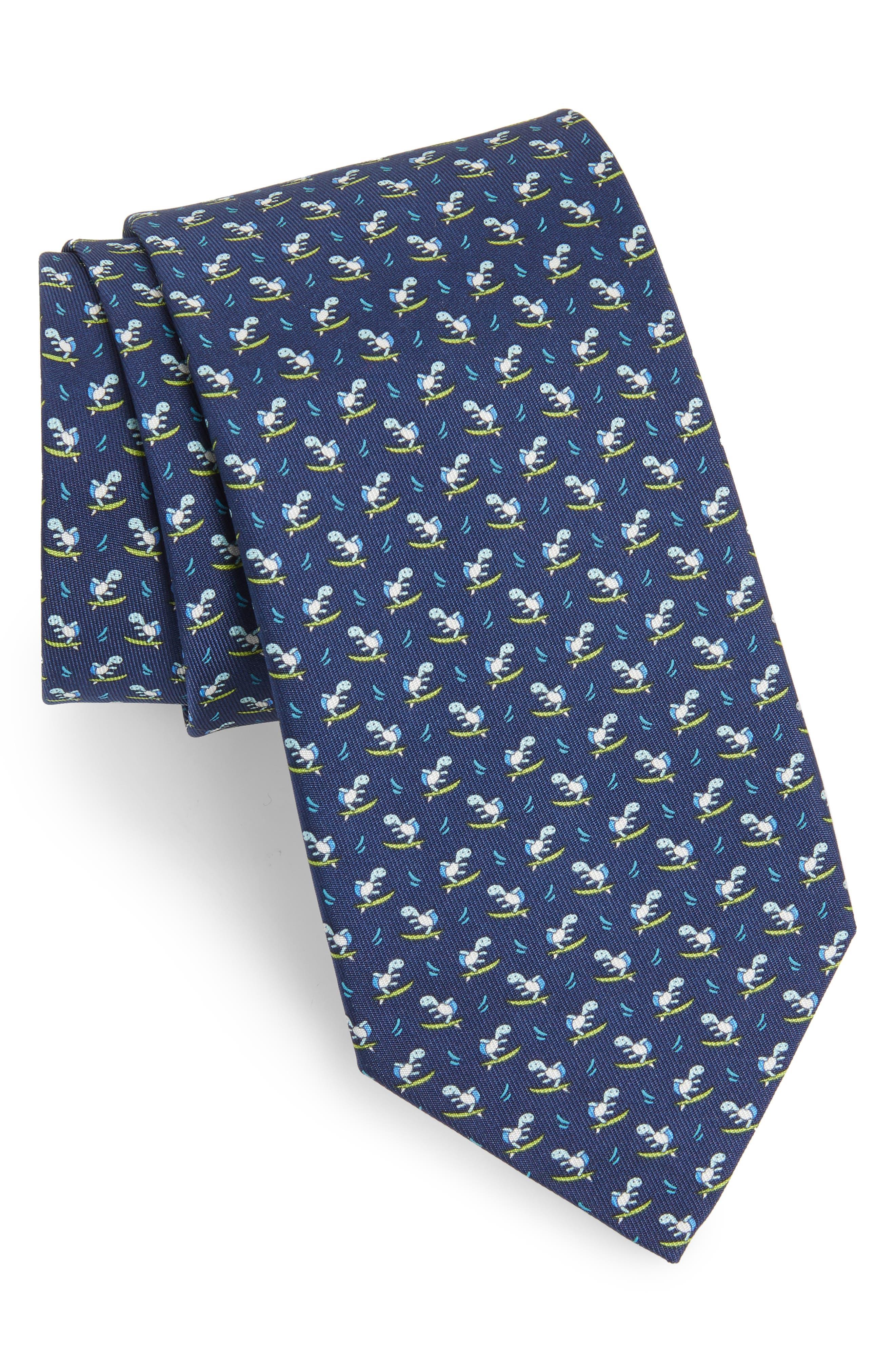 Eletta Print Silk Tie,                             Main thumbnail 1, color,                             Navy