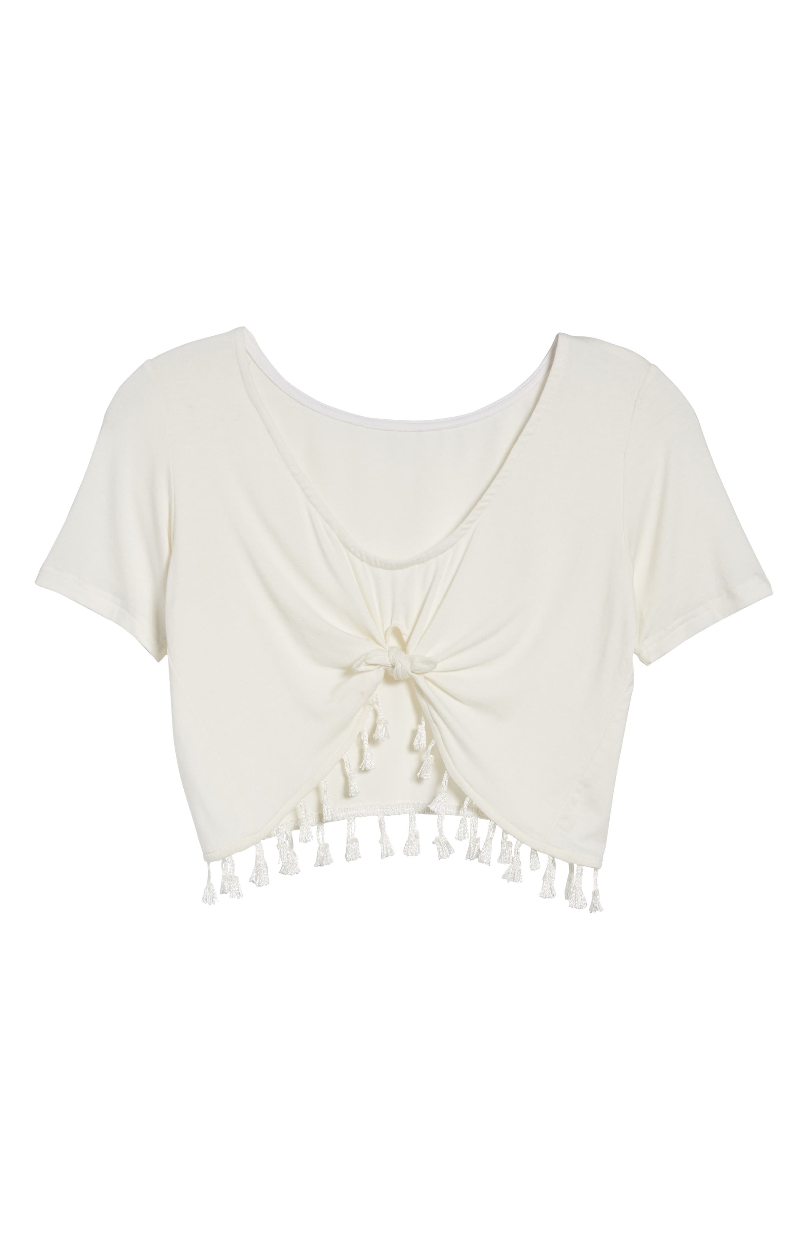 Show It Off Tassel Crop Top,                             Alternate thumbnail 8, color,                             Ivory
