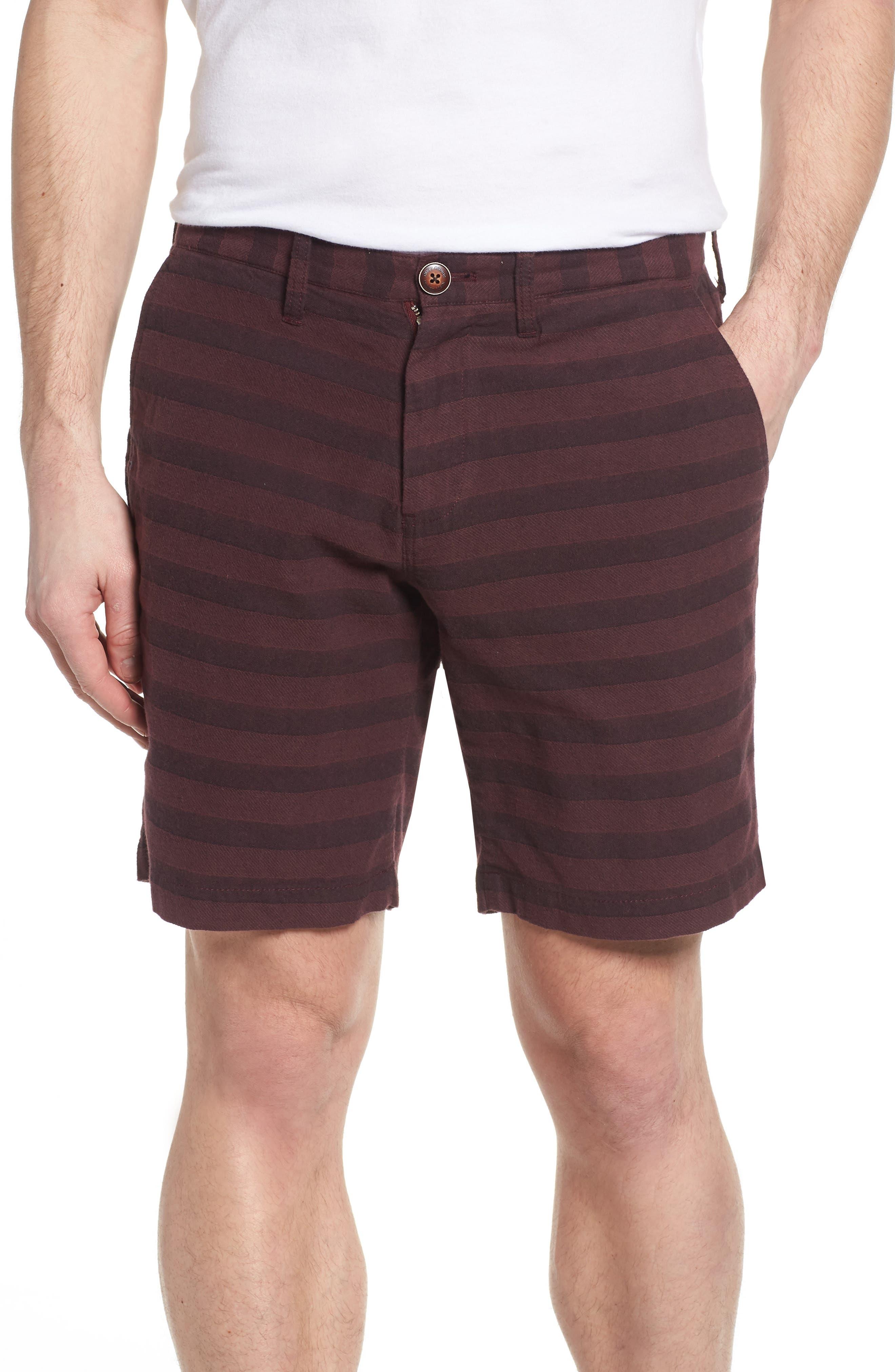 Morgan Stripe Bermuda Shorts,                             Main thumbnail 1, color,                             Burgundy