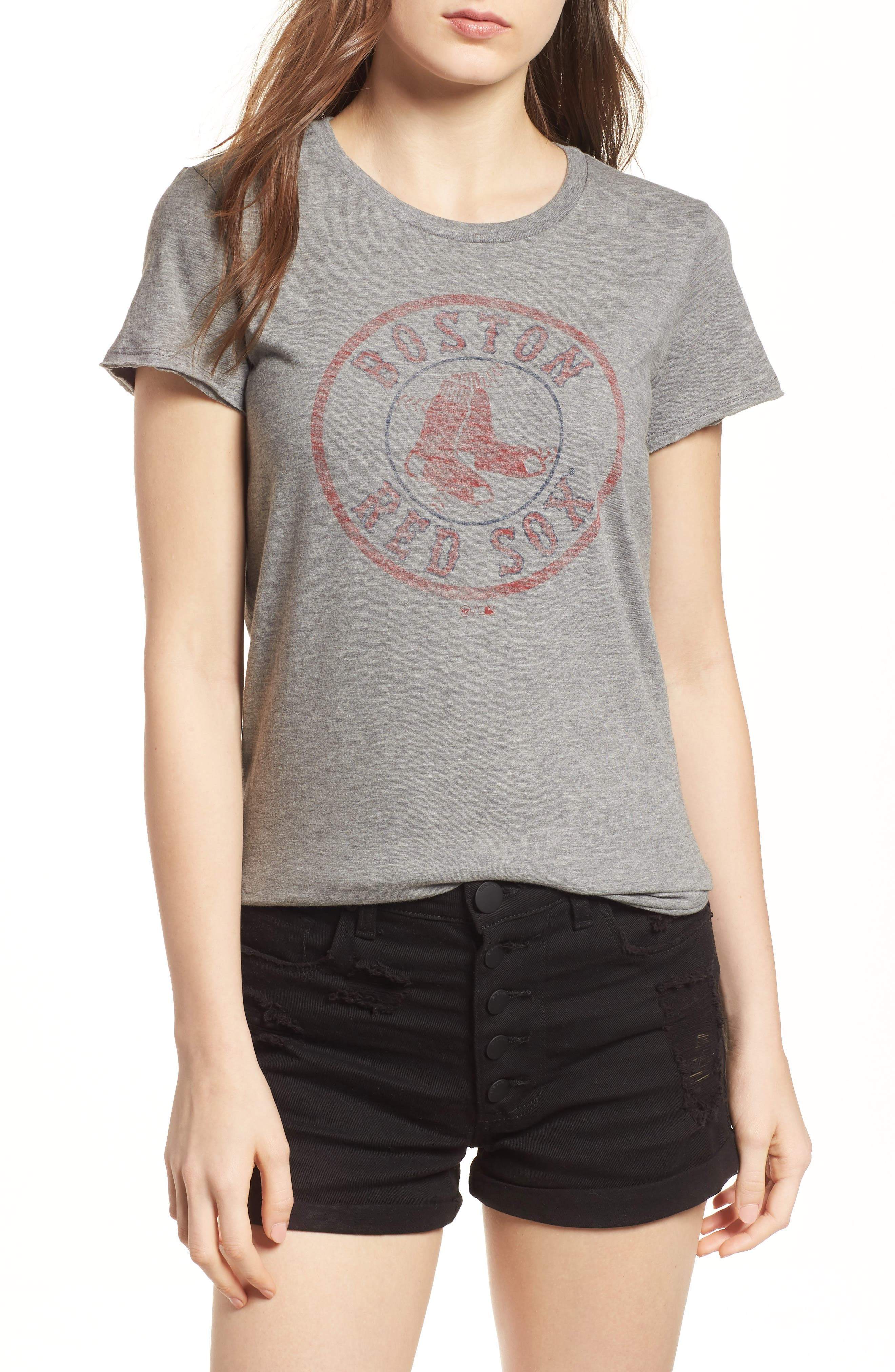 Boston Red Sox Fader Letter Tee,                         Main,                         color, Slate Grey
