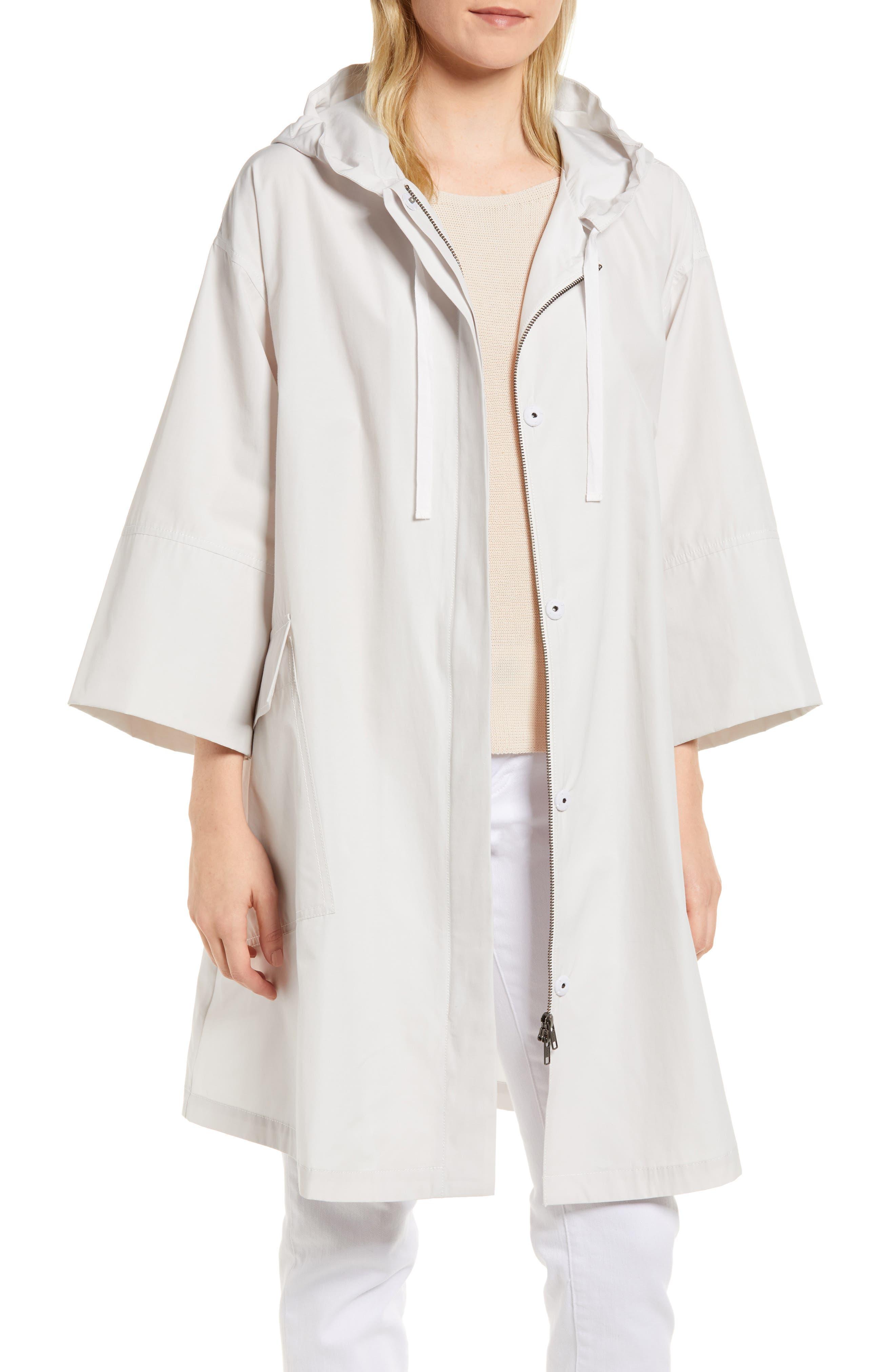 Hooded A-Line Jacket,                         Main,                         color, Bone