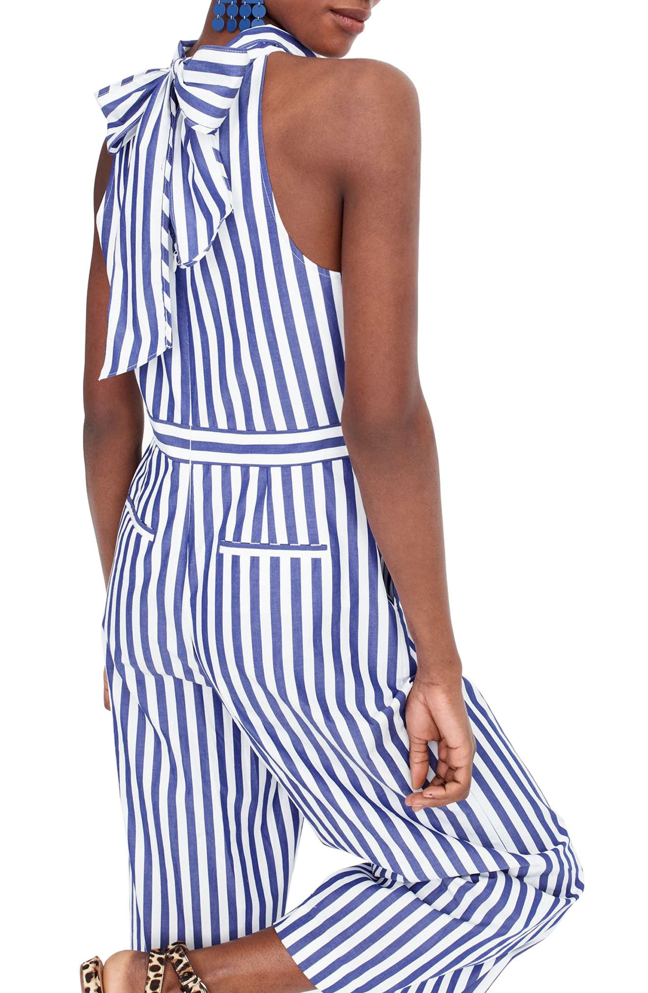 J.Crew Striped Halter Jumpsuit,                             Alternate thumbnail 2, color,                             Tushar Stripe Lighthouse
