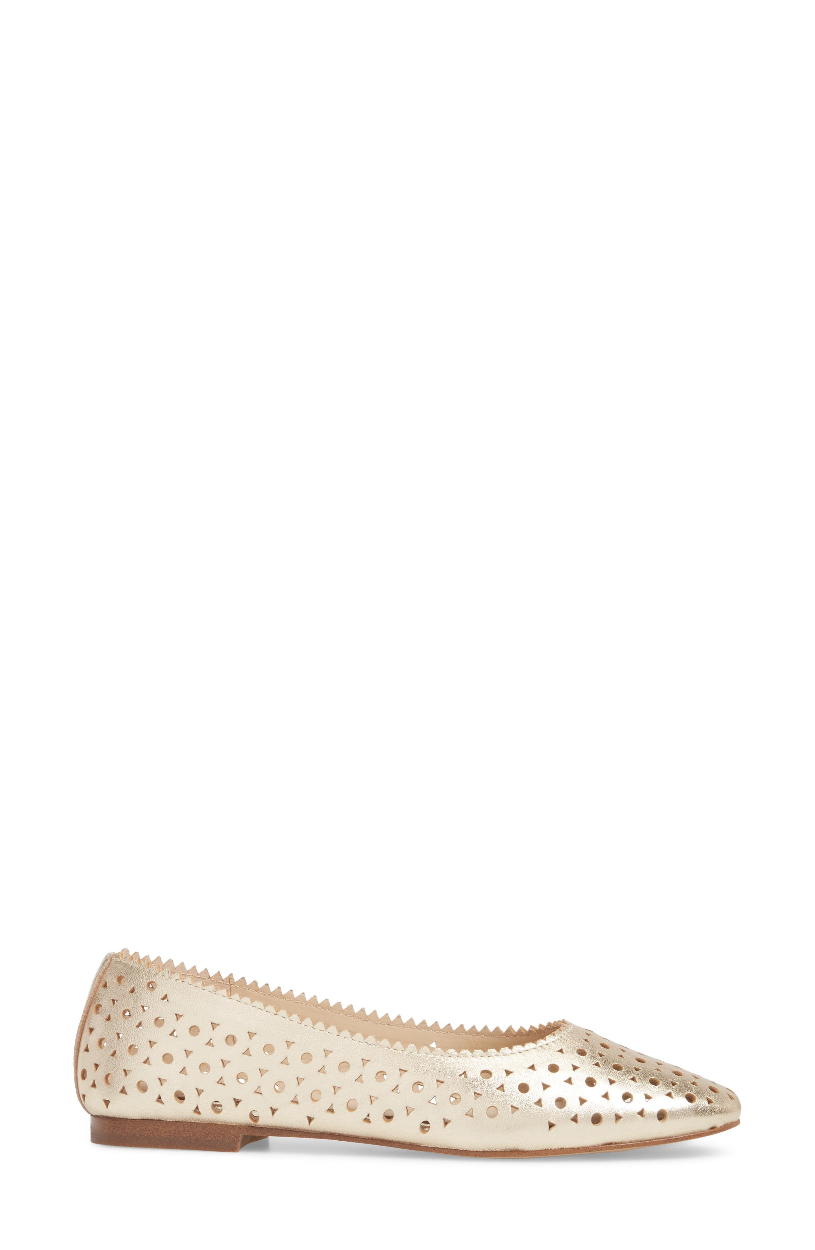Mandy Flat,                             Alternate thumbnail 3, color,                             Metallic Ivory Leather