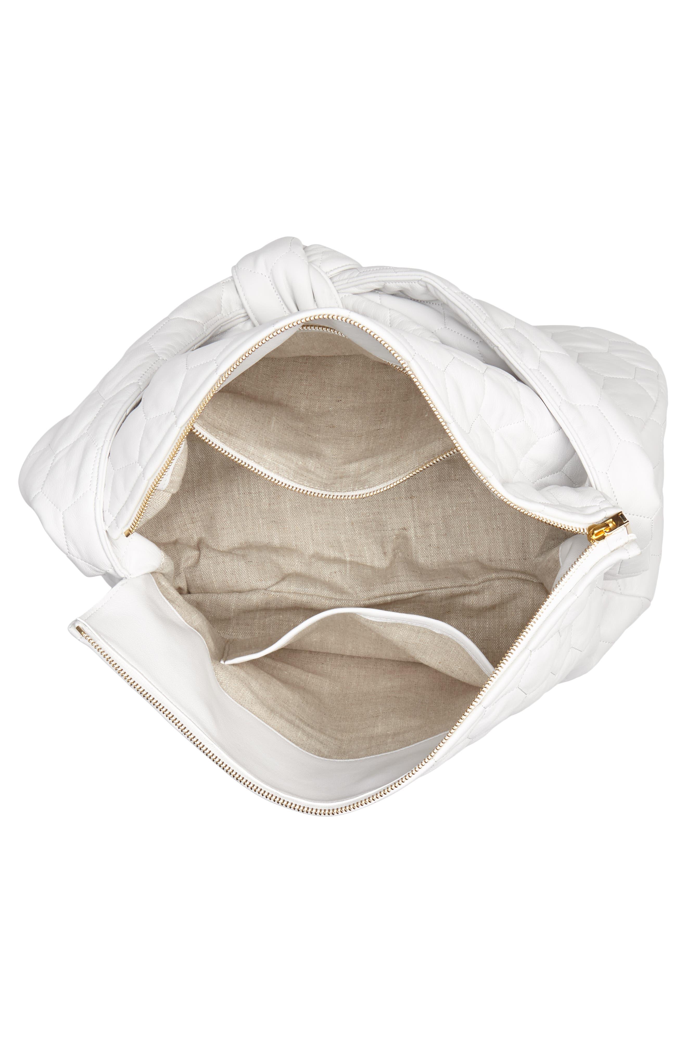 Balloon Leather Shoulder Bag,                             Alternate thumbnail 4, color,                             White