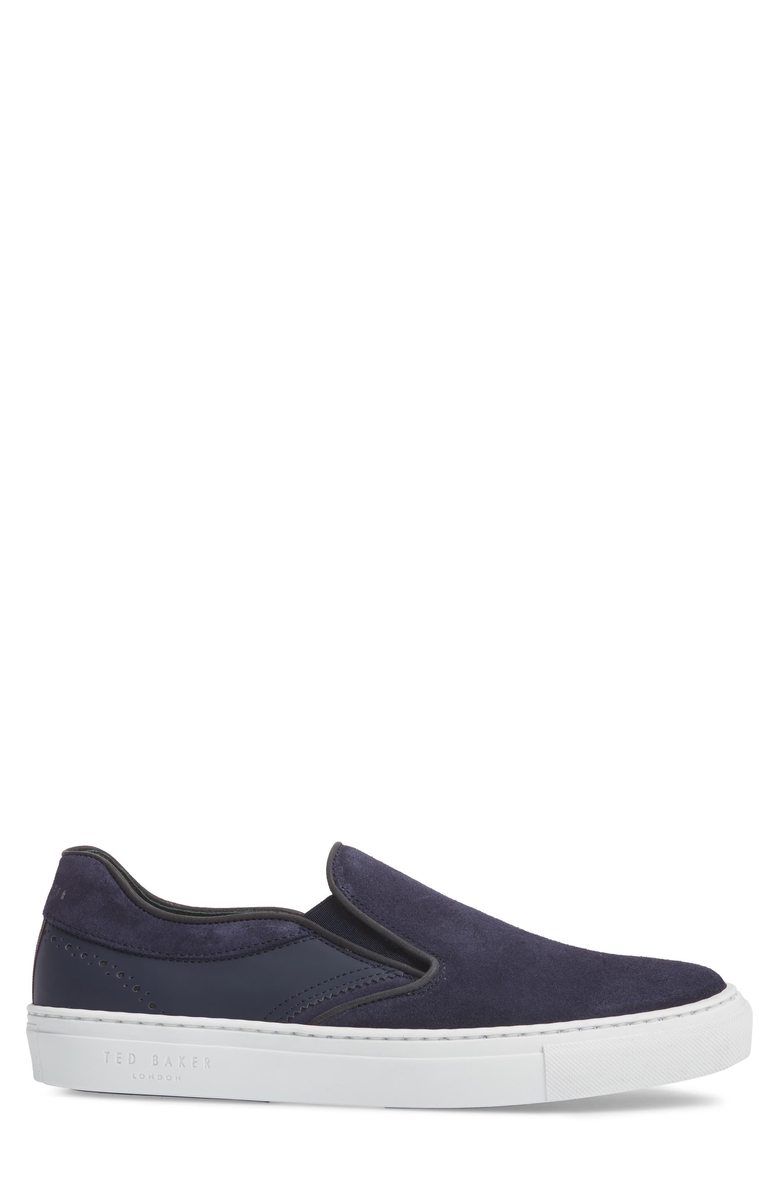 Reaine Brogued Slip-On Sneaker,                             Alternate thumbnail 3, color,                             Dark Blue Leather